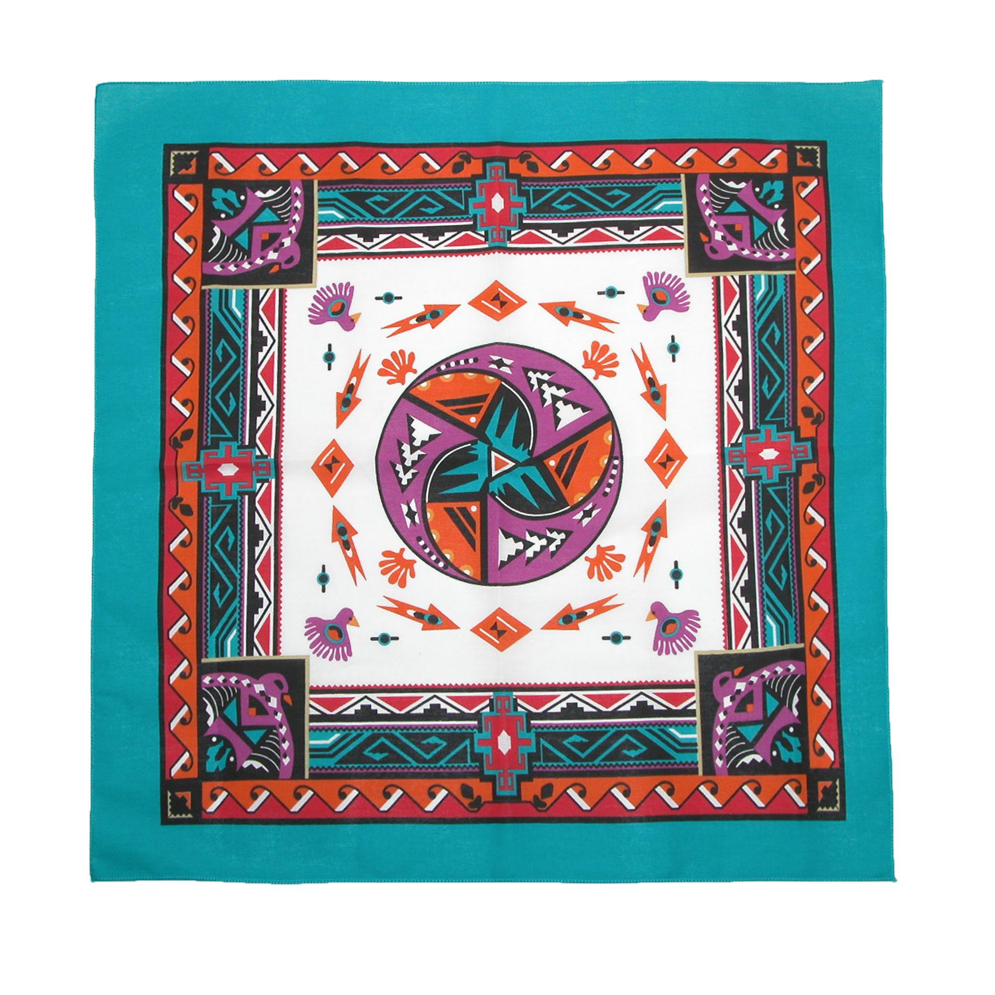CTM_Womens_Cotton_Aztec_Turquoise_Bandanas_