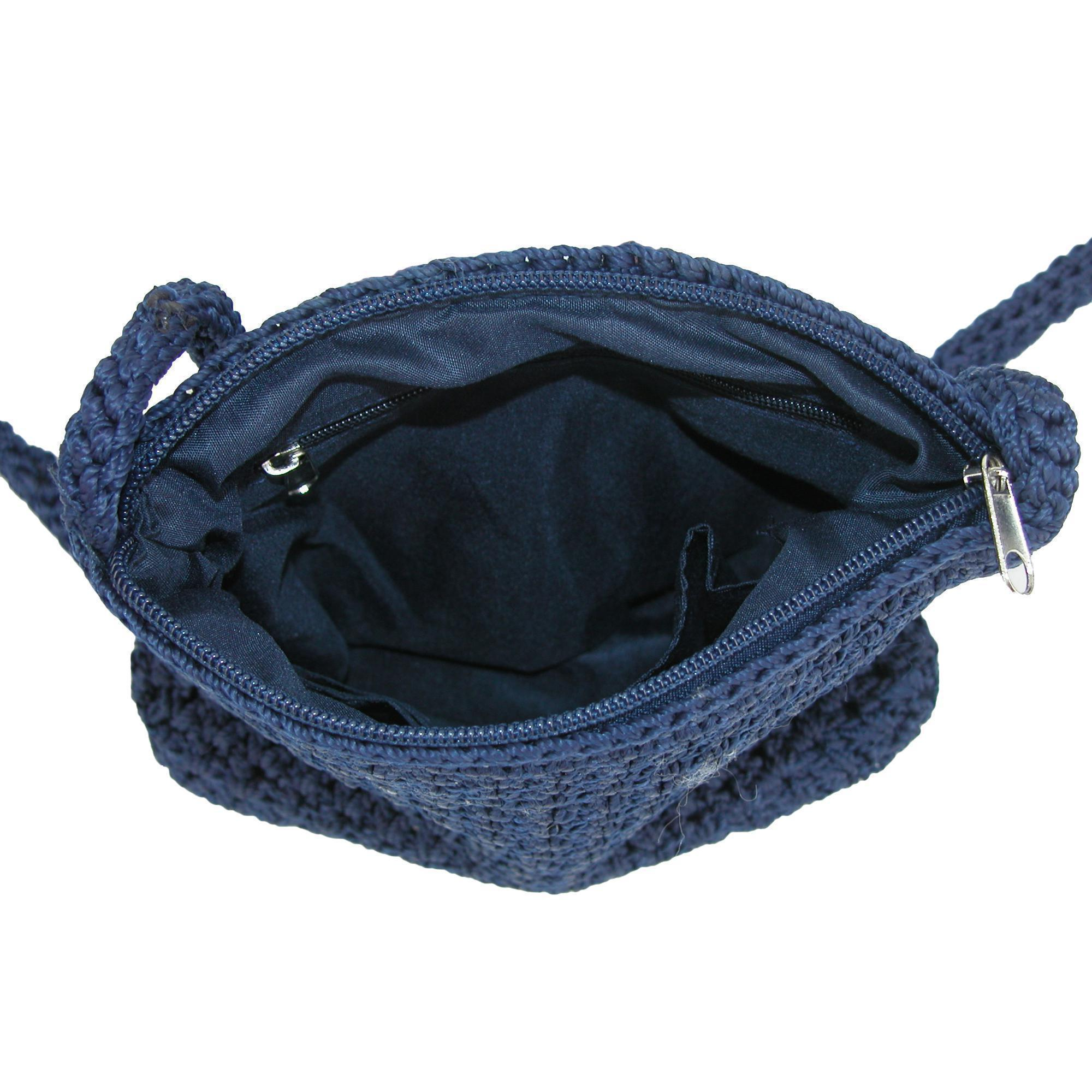 New-CTM-Women-039-s-Crochet-Crossbody-Handbag thumbnail 7