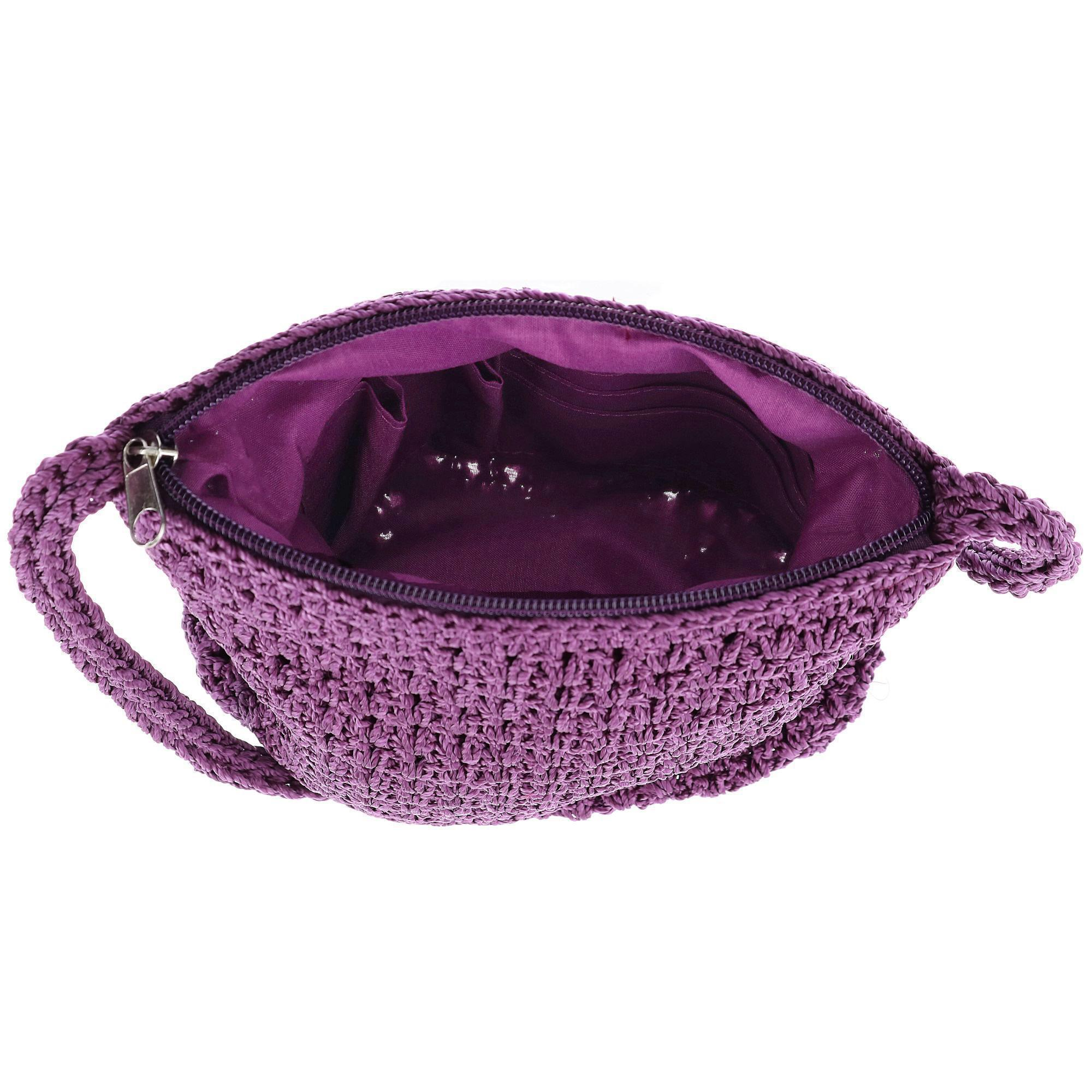 New-CTM-Women-039-s-Crochet-Crossbody-Handbag thumbnail 9