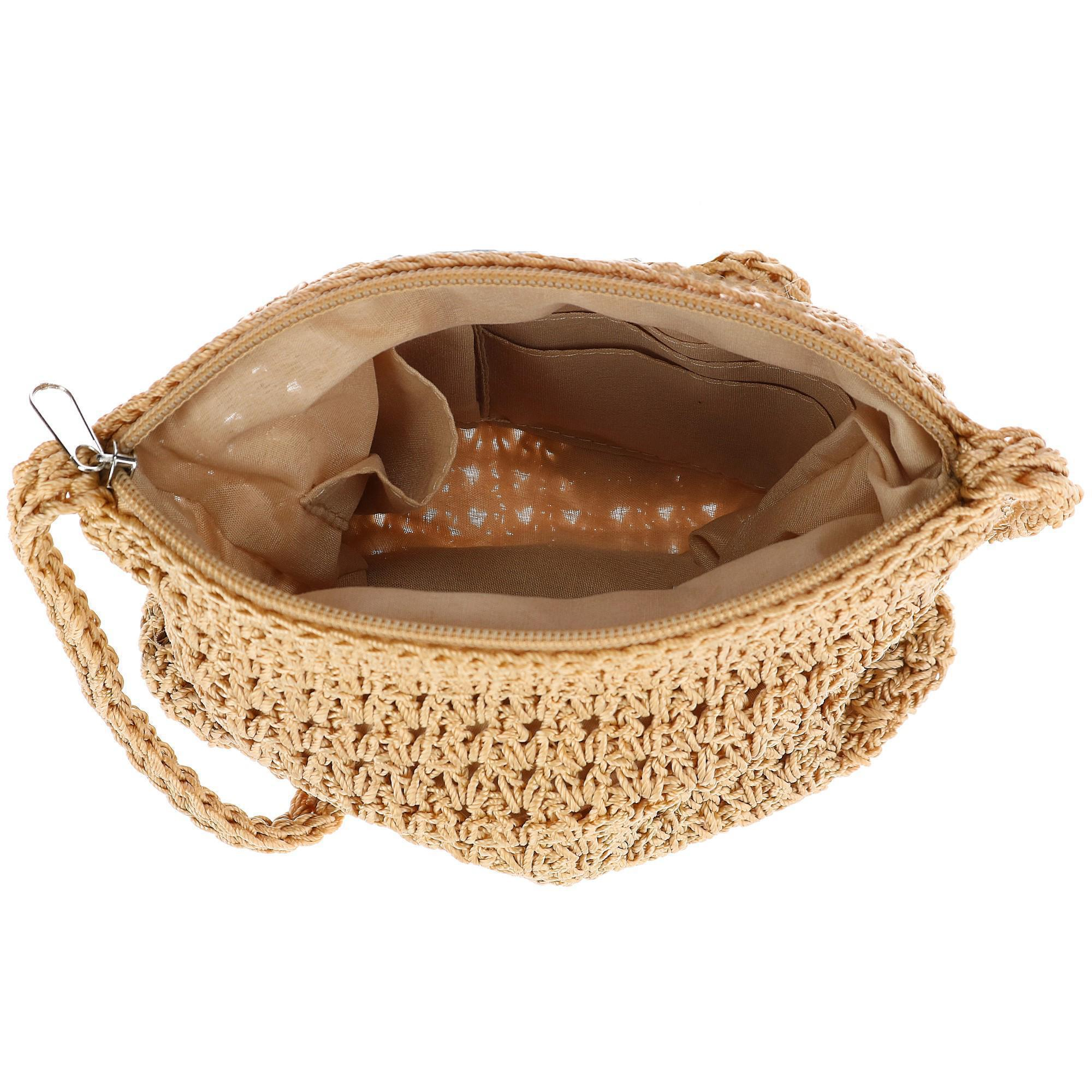 New-CTM-Women-039-s-Crochet-Crossbody-Handbag thumbnail 5