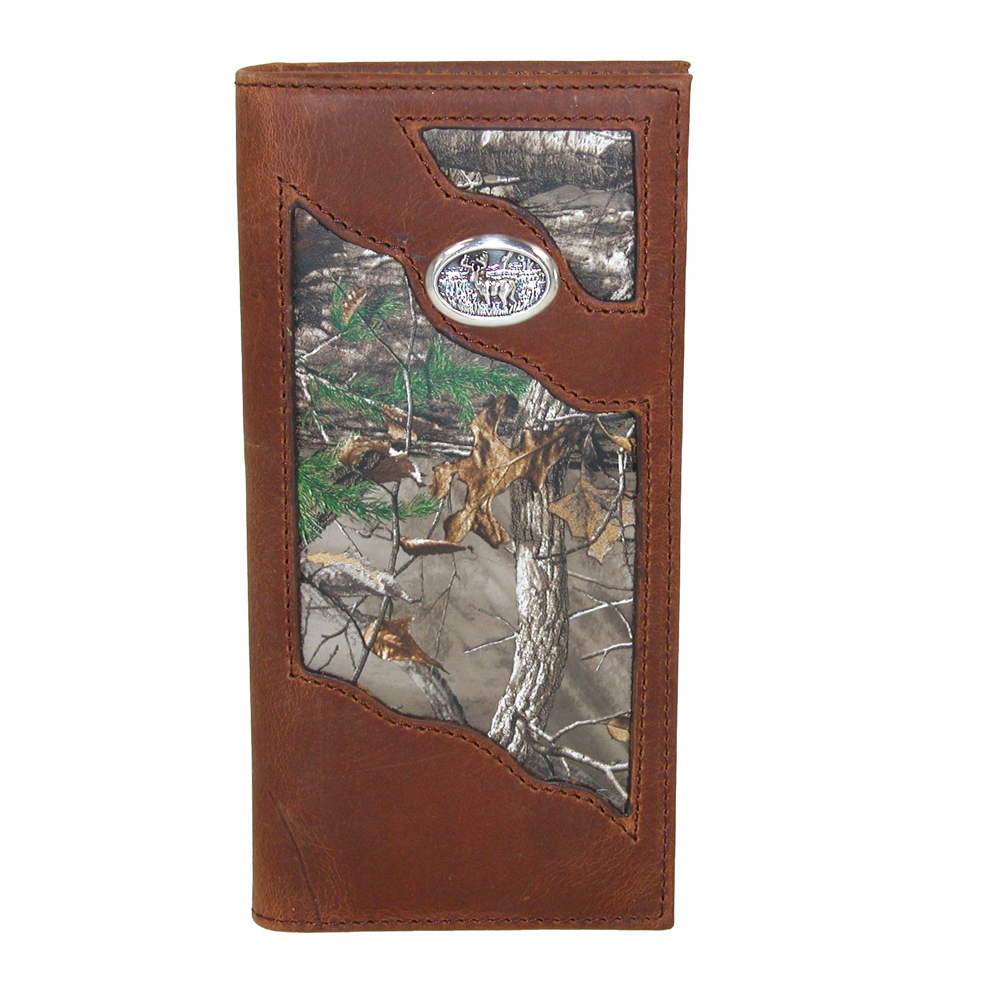 3 D Belt Company Men's Leather Camouflage Checkbook Wallet With Deer Concho