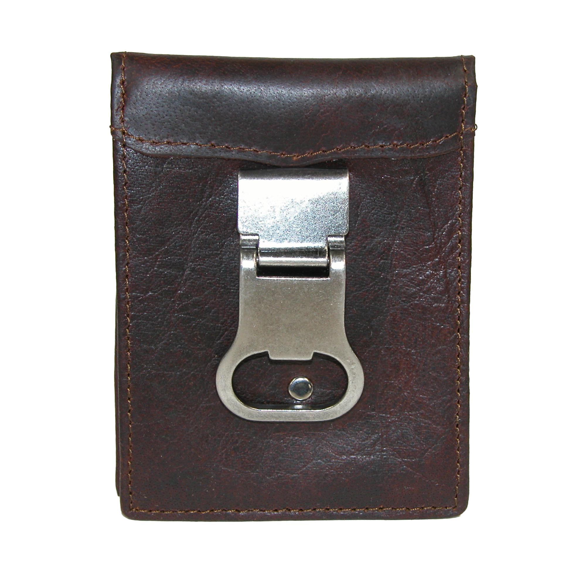 3 D Belt Company Men's Leather Basic Bifold Wallet With Bottle Opener Money Clip