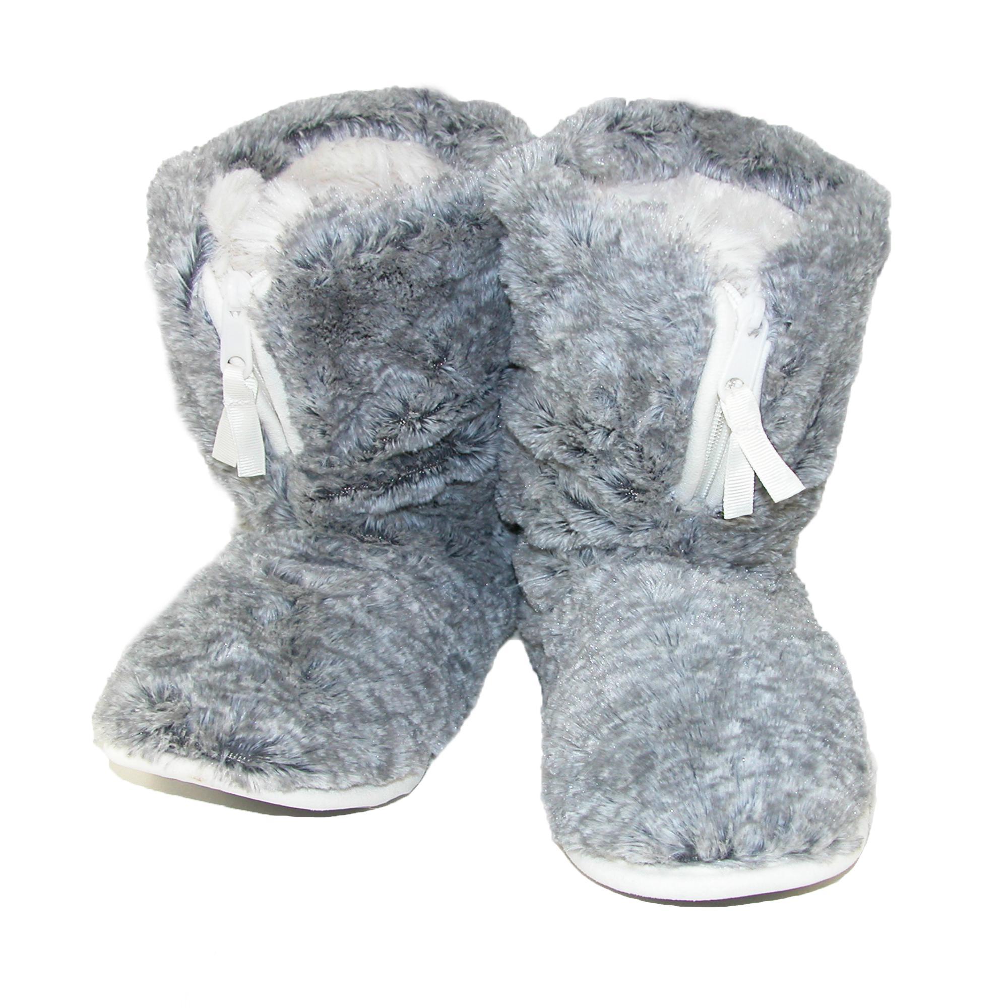 Dearfoams Womens Pile Boot Slipper With Zipper And Memory Foam
