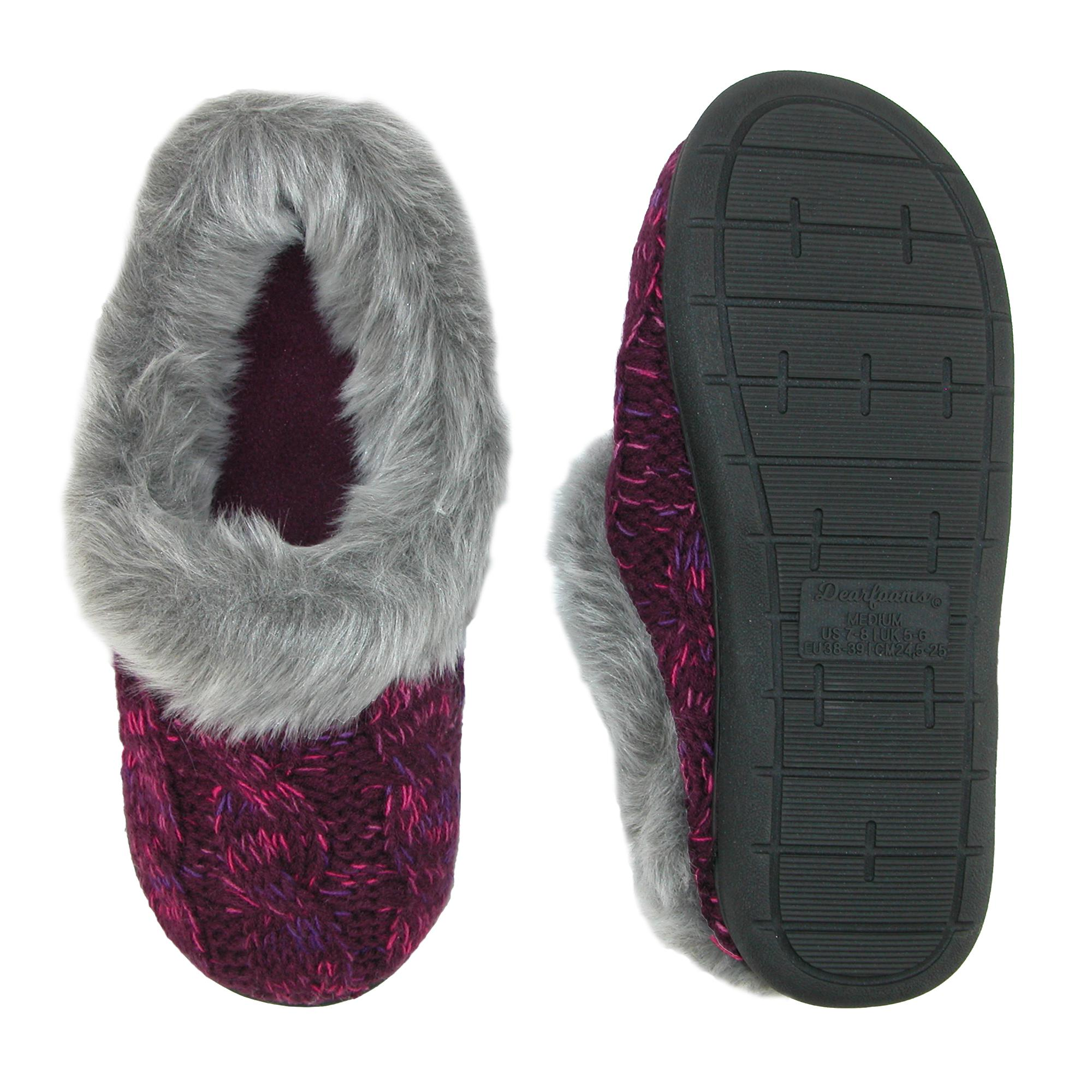 New-Dearfoams-Women-039-s-Cable-Knit-Clog-Slippers-with-Space-Dye-Accent thumbnail 4