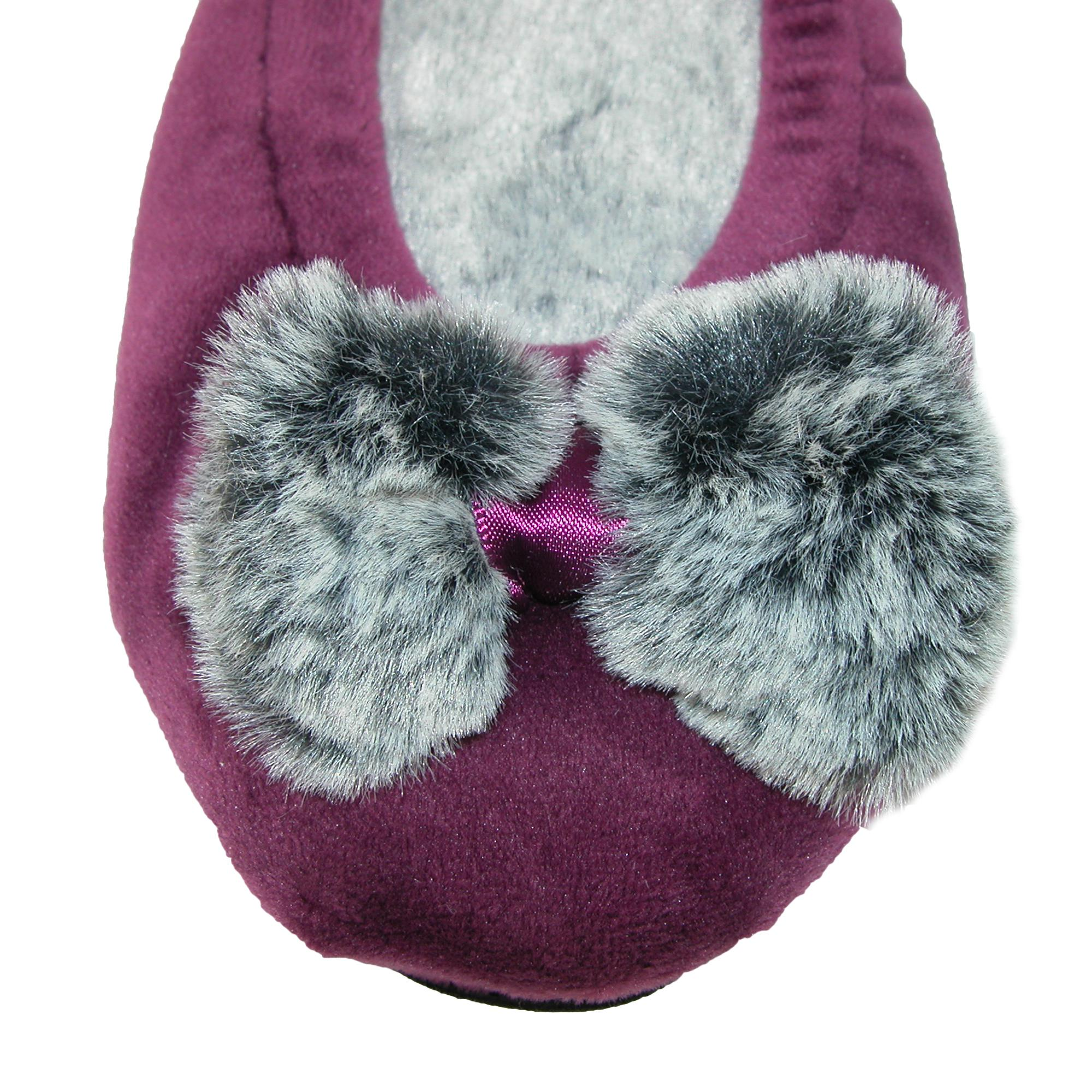 New-Dearfoams-Women-039-s-Velour-Ballerina-Slippers-with-Frosted-Pile thumbnail 5