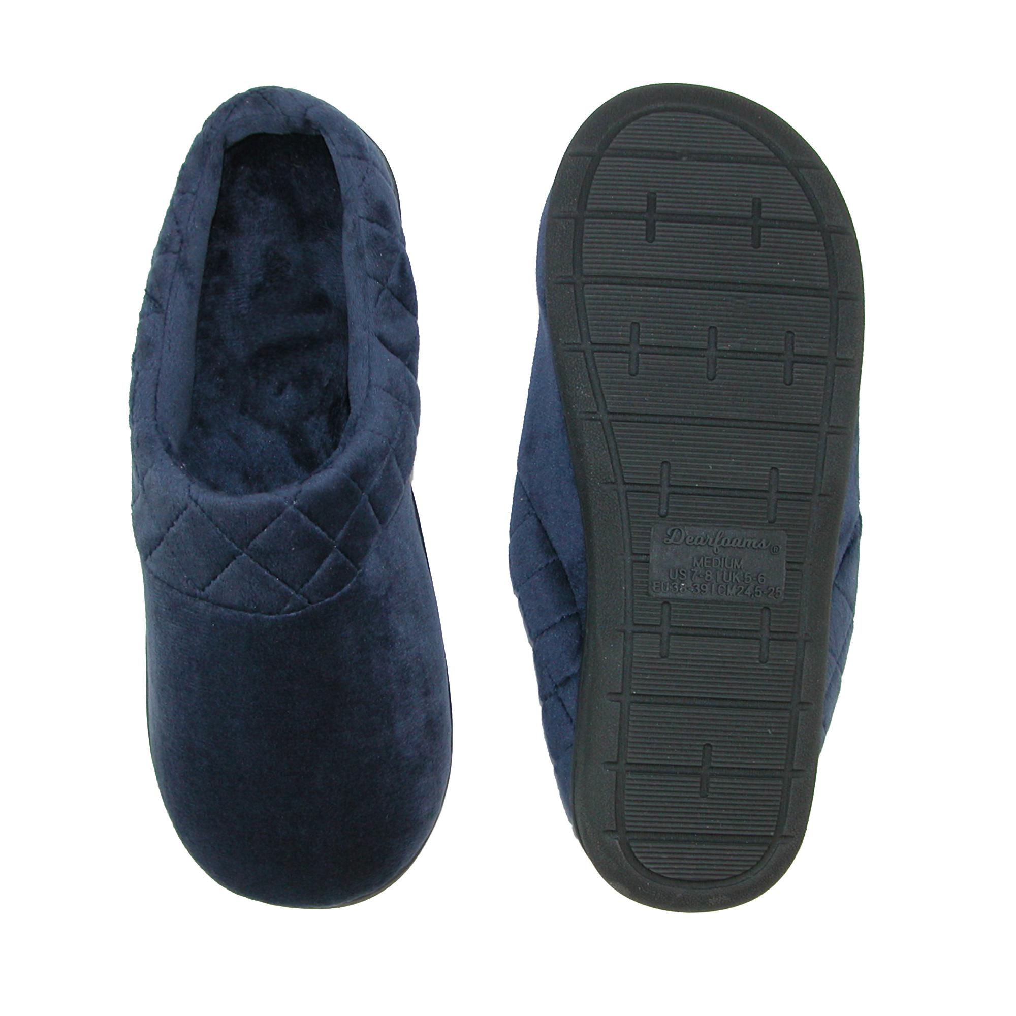 New-Dearfoams-Women-039-s-Microfiber-Velour-Clog-Slipper-with-Quilt-Detail thumbnail 11