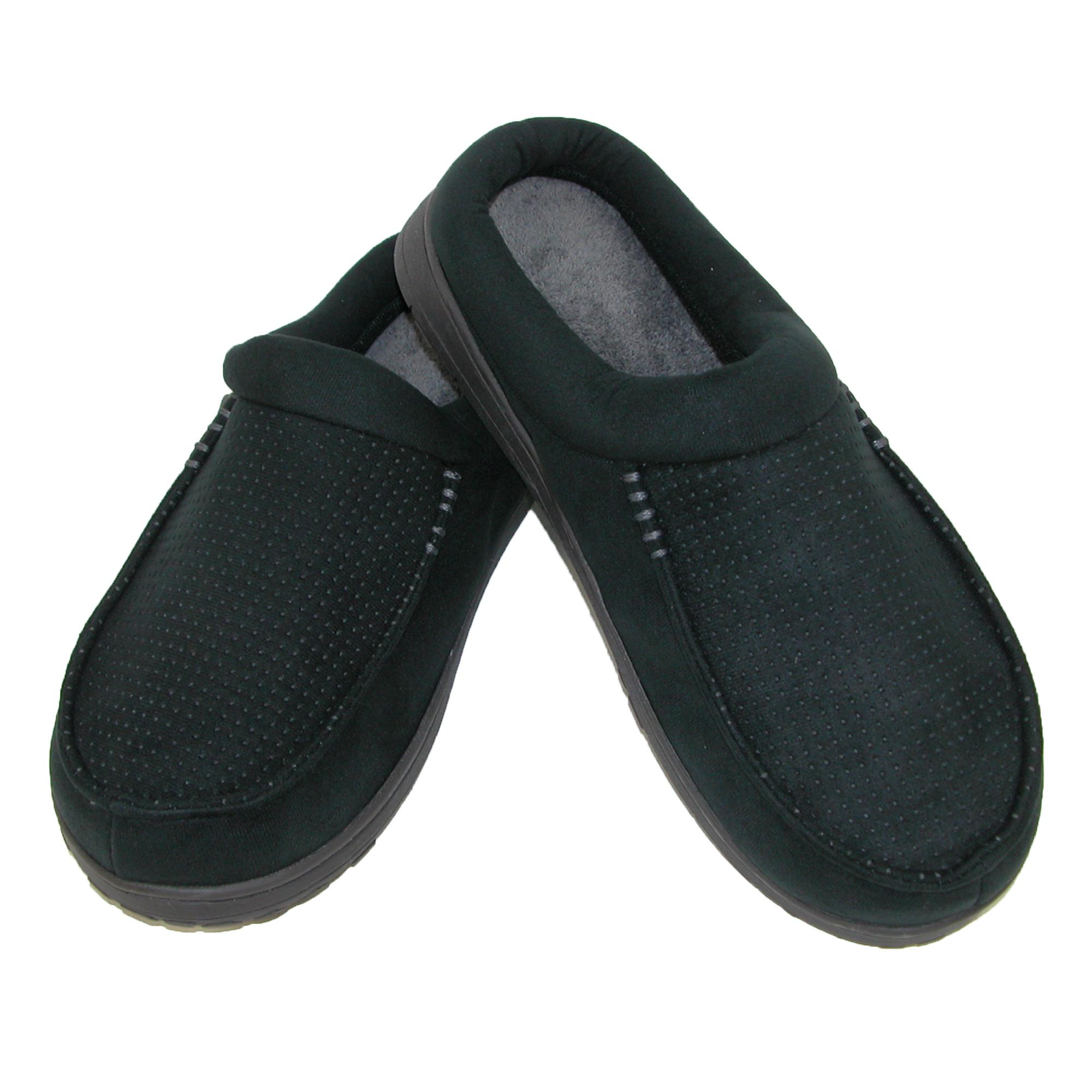 Dearfoams Mens Microsuede Clog Slippers With Memory Foam