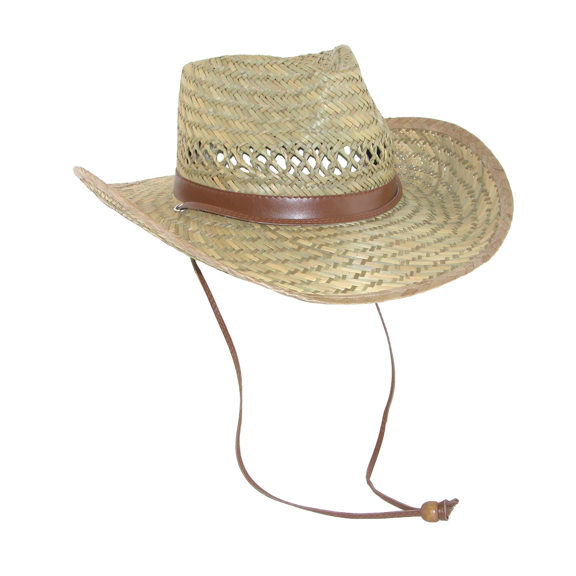 5cca676e909 Dorfman Pacific Men s Rush Straw Lightweight Outback Hat with Chin Cord