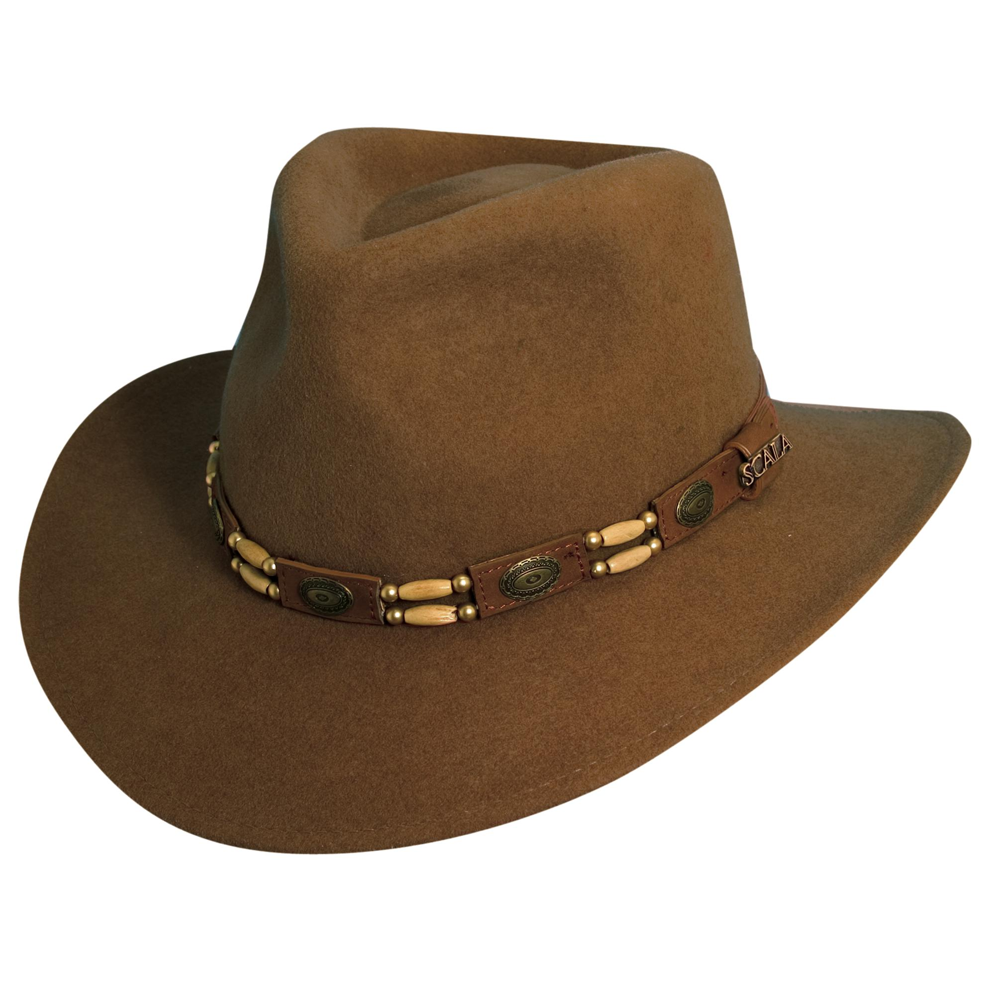 ac2842ea Scala Western Style Men's Crushable Wool Felt Outback Hat with Conchos and  Beads
