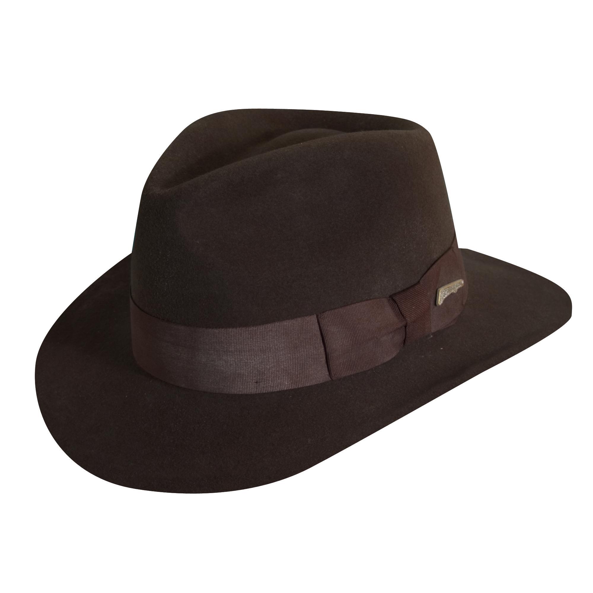 84cb072f666 Dorfman Pacific Indiana Jones Men s Wool Felt 3 Inch Brim Fedora Hat