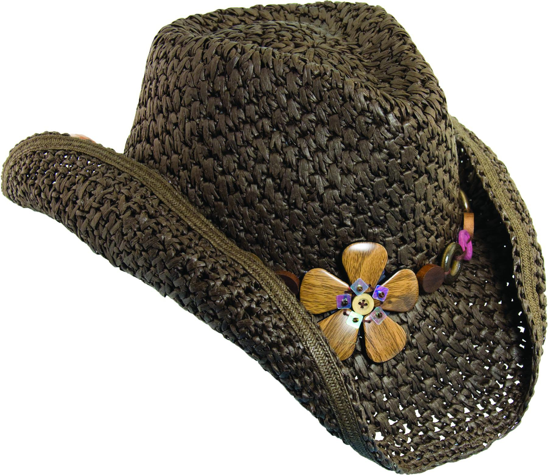 Dorfman_Pacific_Womens_Crocheted_Toyo_Western_Cowgirl_Hat_with_Flower