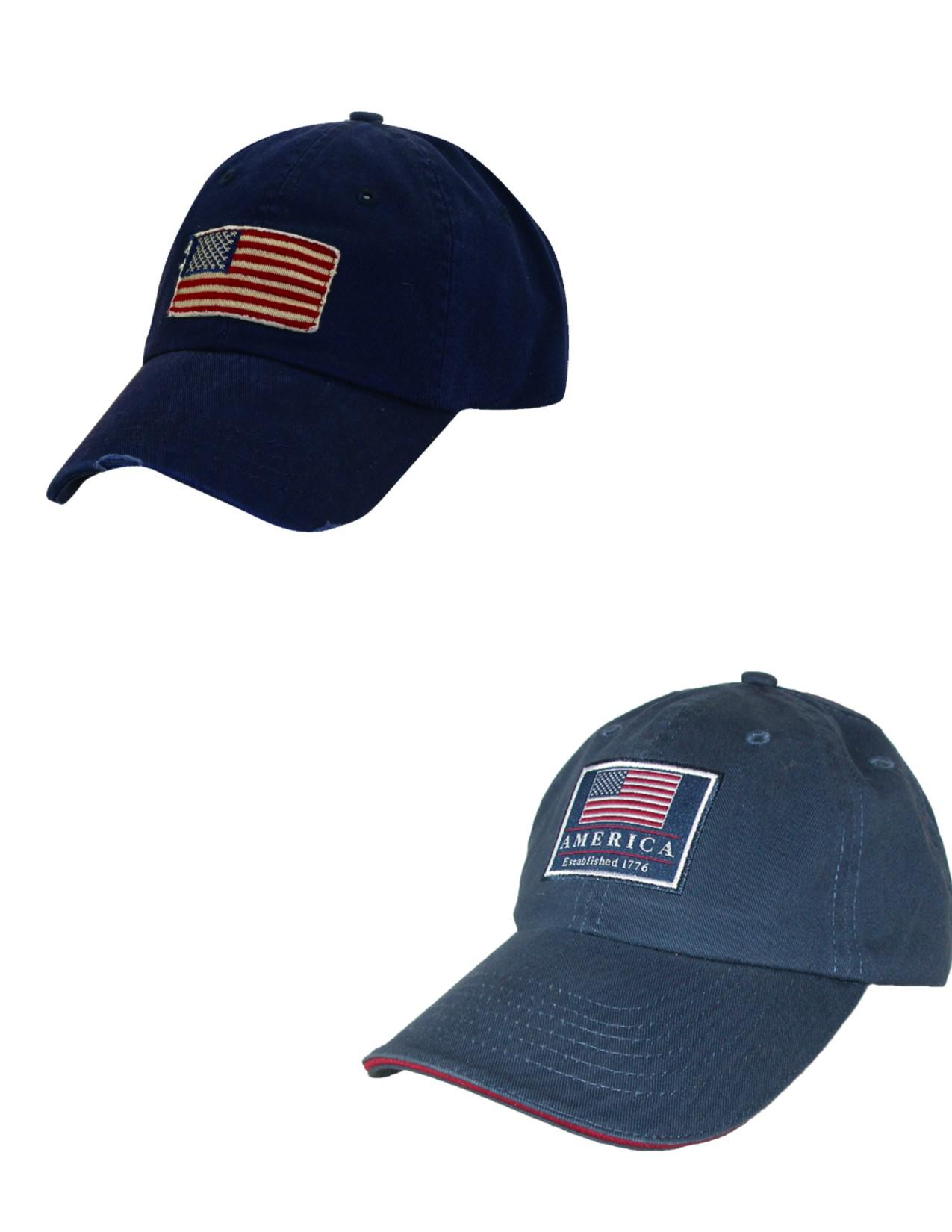 fbea59e8c21 New Dorfman Pacific Cotton Classic American Flag Baseball Caps (Pack ...