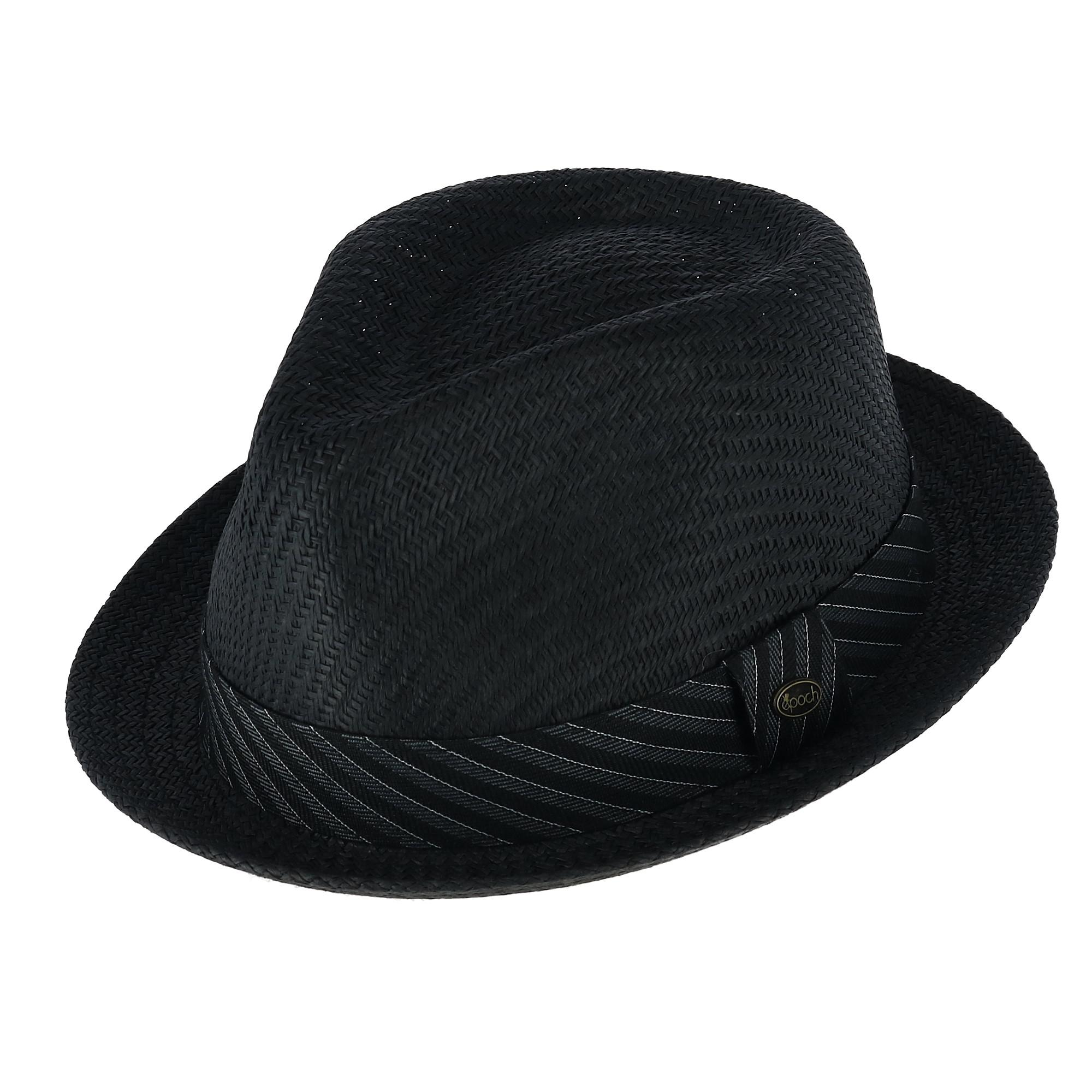 5868598929591a New Epoch Hats Company Men's Small Brim Fedora with Striped Fabric ...