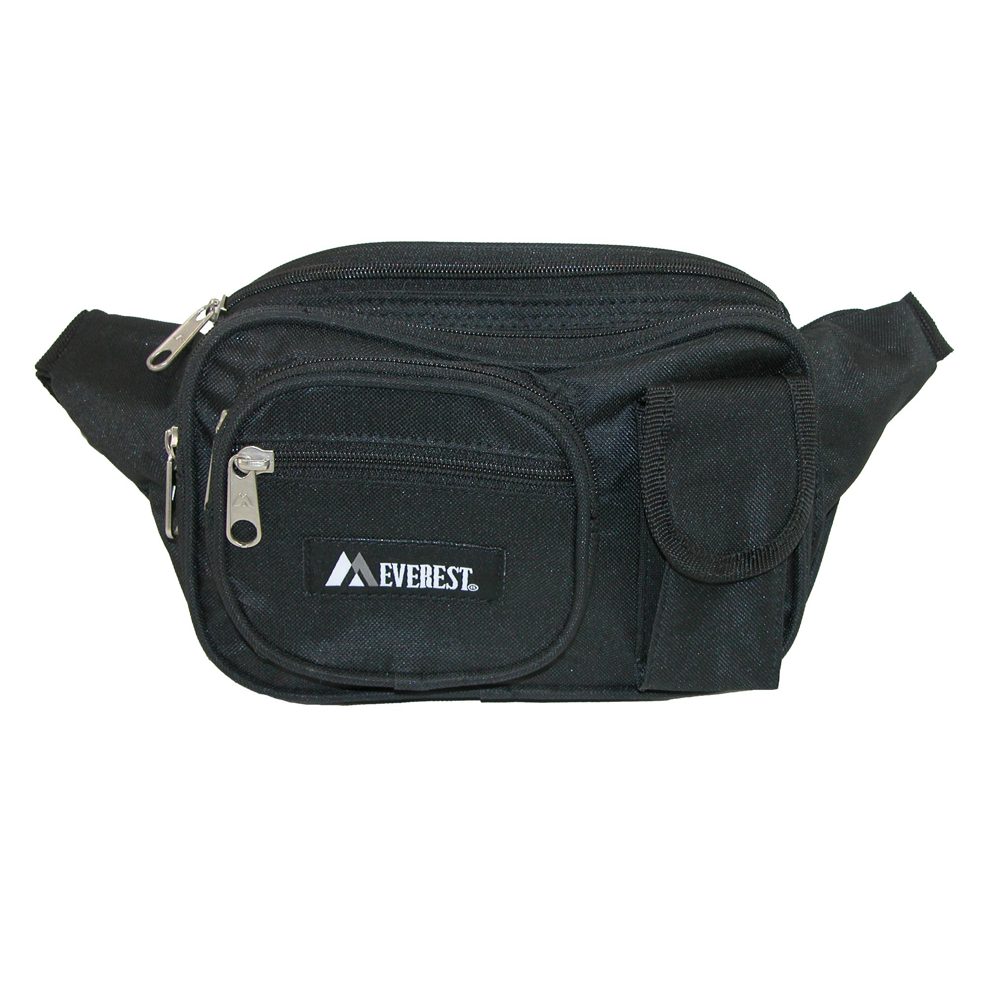 Everest_Fabric_Multiple_Pockets_Waist_Pack_-_Black_one_size