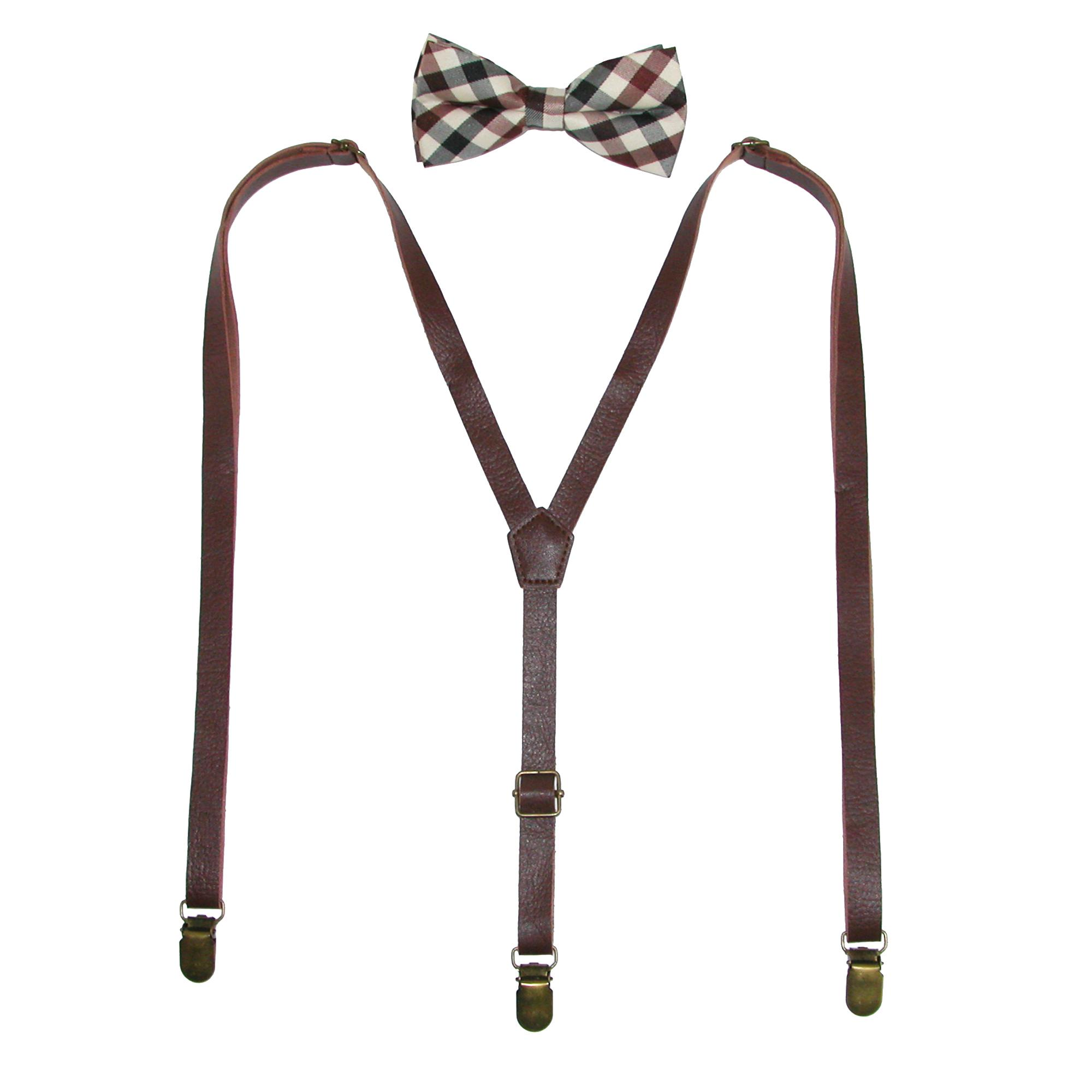 Ctm Mens Brown Plaid Bow Tie With Brown Faux Leather Suspender Set