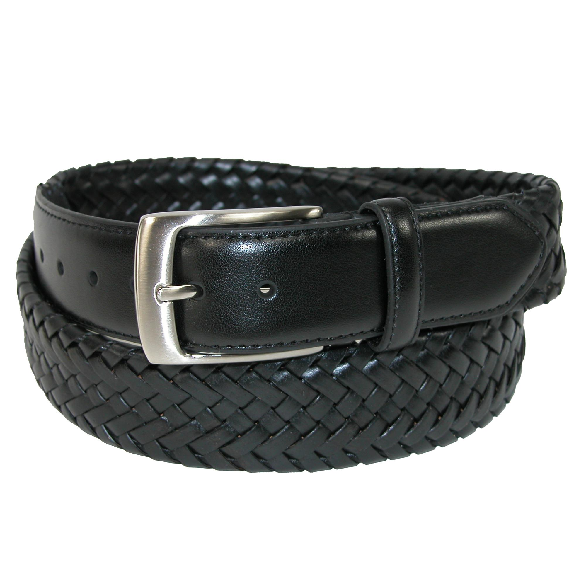Danbury Mens Comfort Stretch Leather Braided Belt