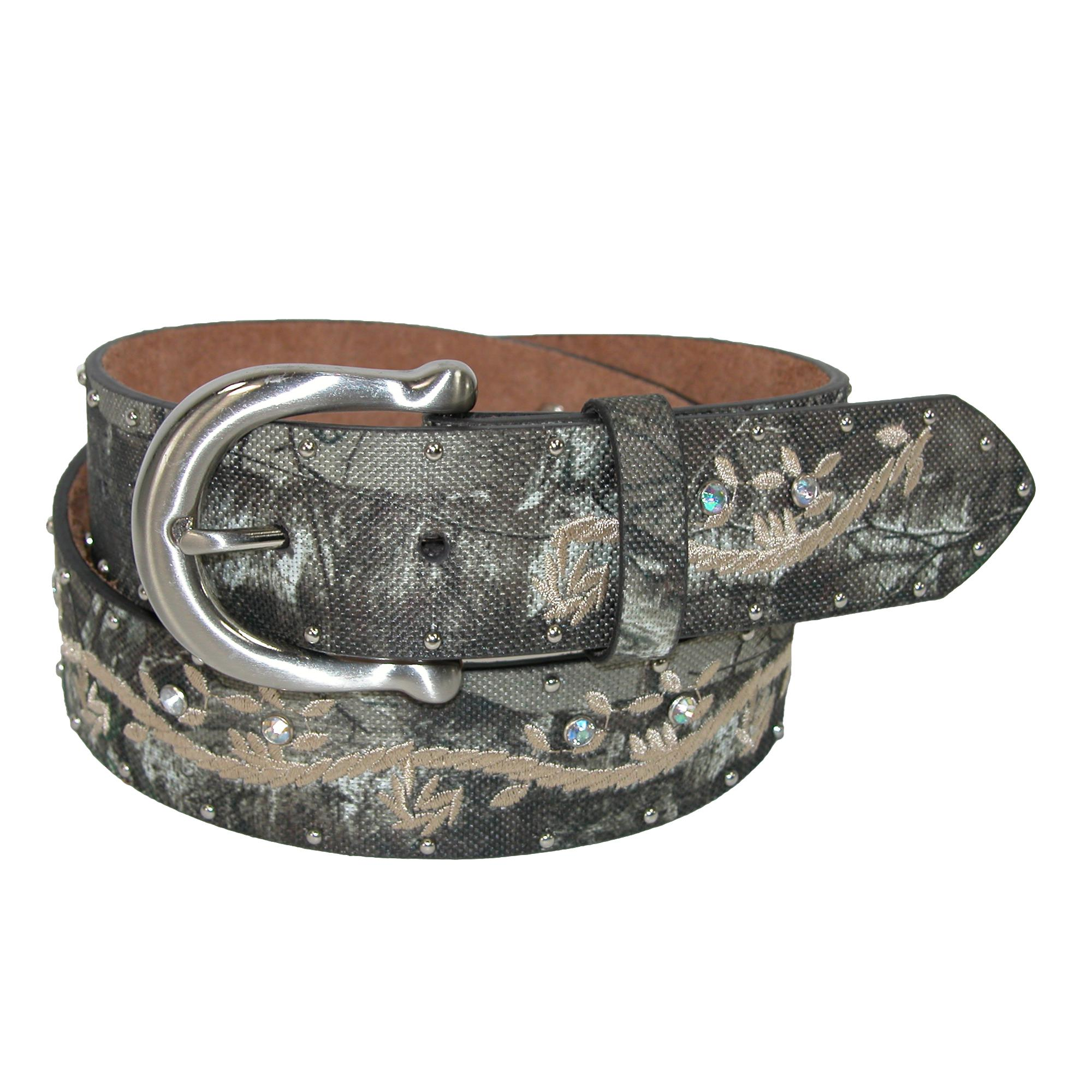 John Deere Womens Realtree Camo Canvas On Leather With Embroidery Belt