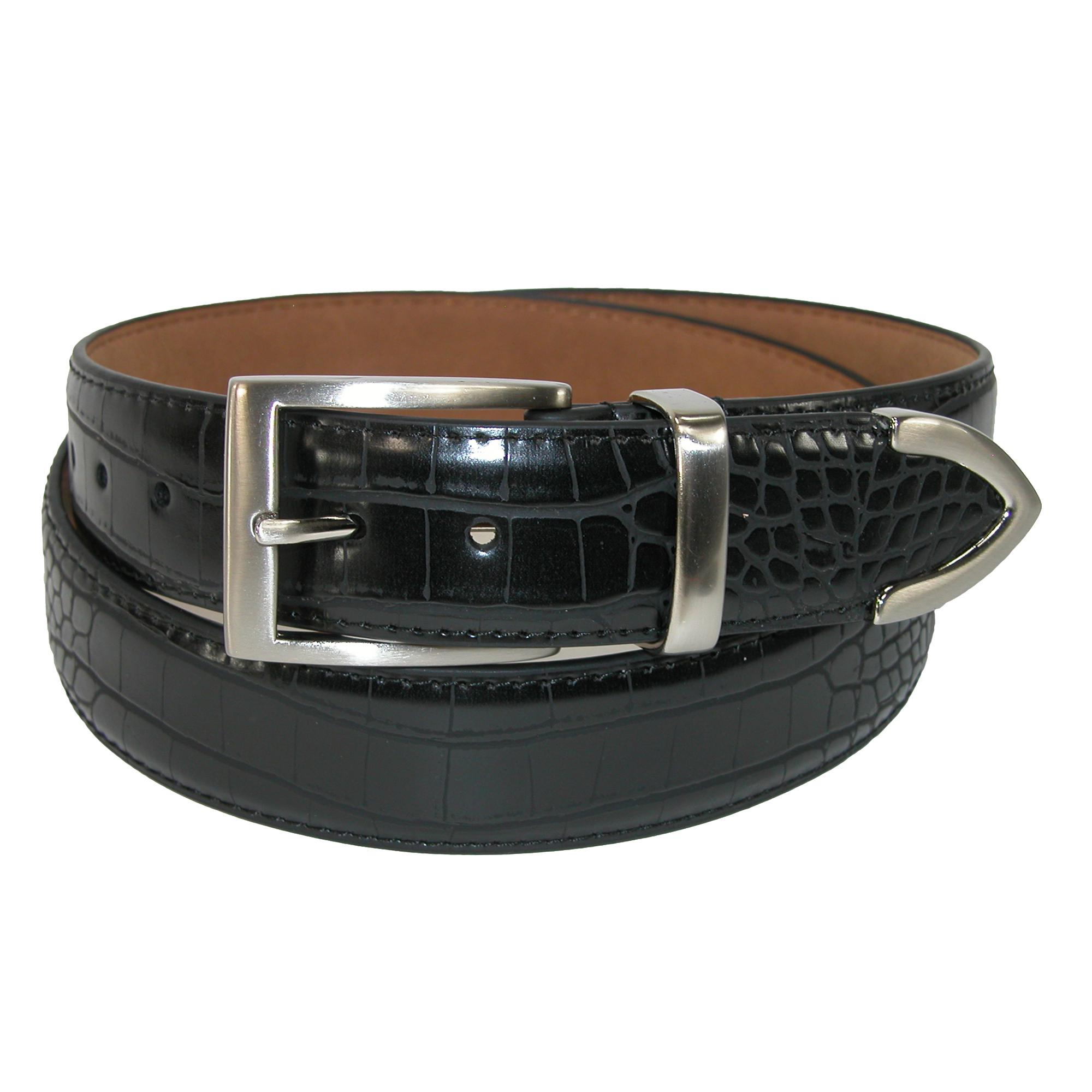 Pga Mens Croco Print 3 Piece Leather Belt