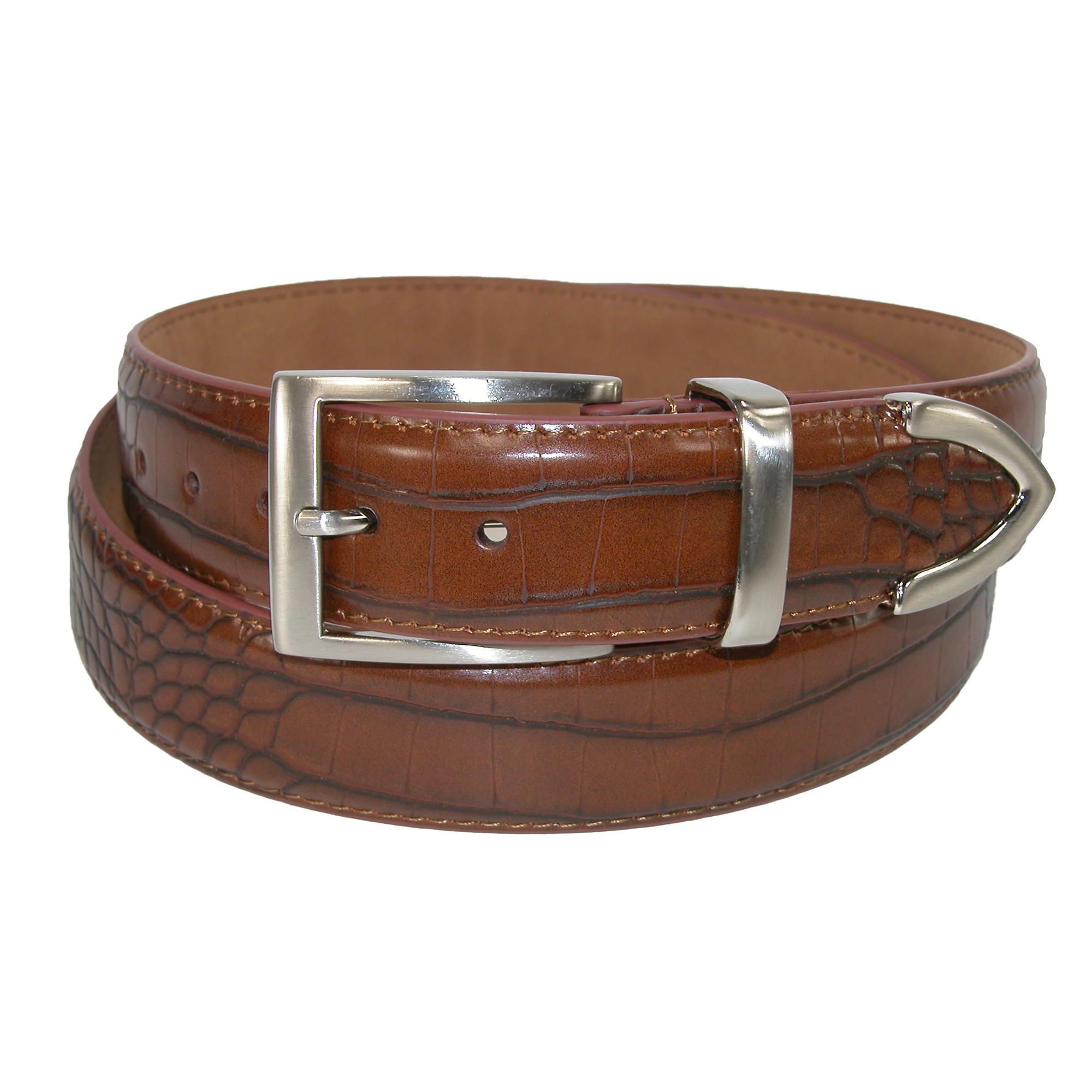 Pga Tour Mens Croco Print 3 Piece Leather Belt