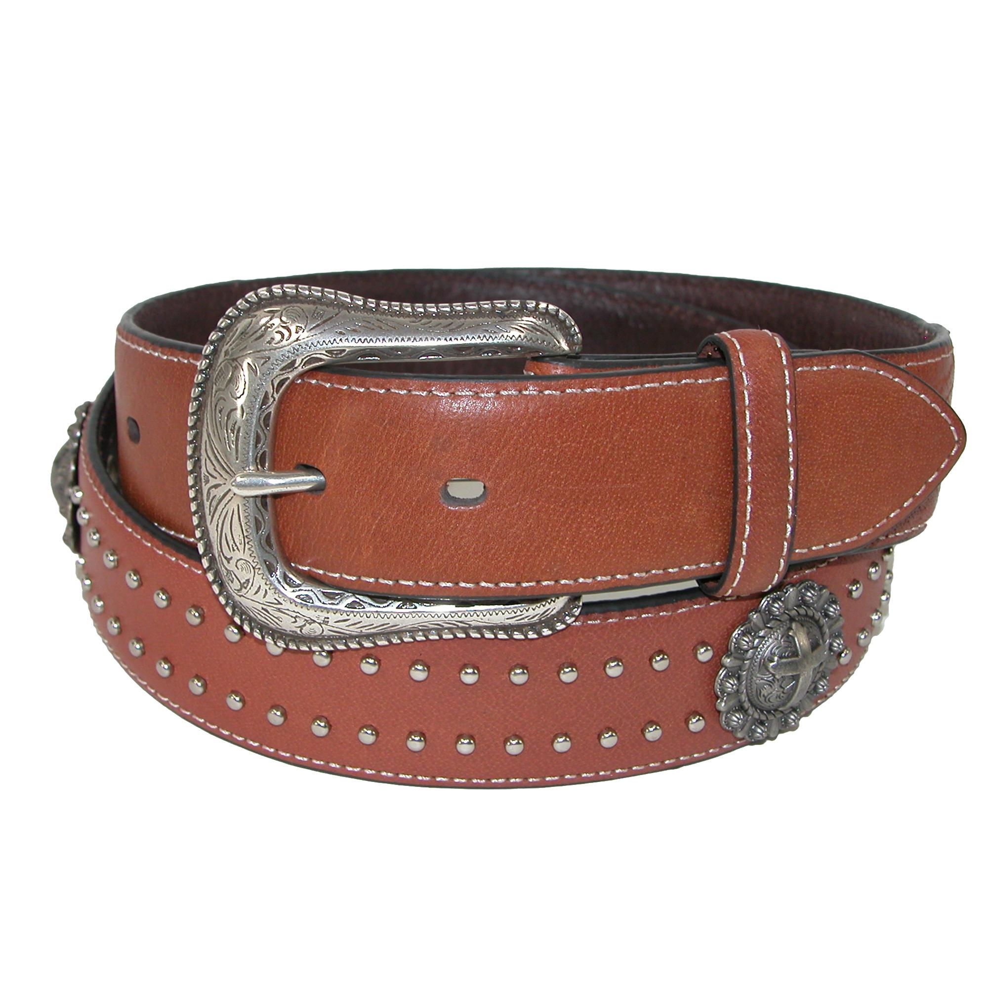 Roper Mens Leather 38mm Belt With Cross Choncos