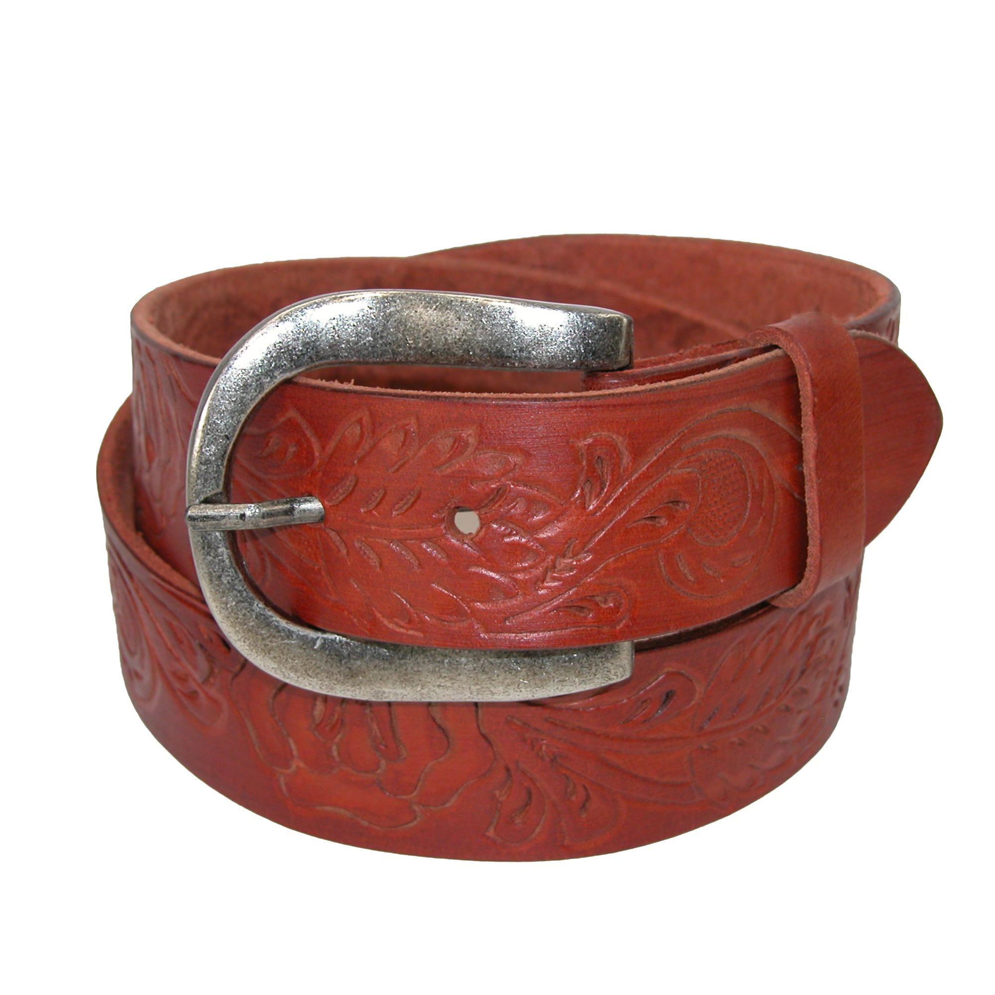 Roper Womens Handtooled Leather Belt With Removable Buckle
