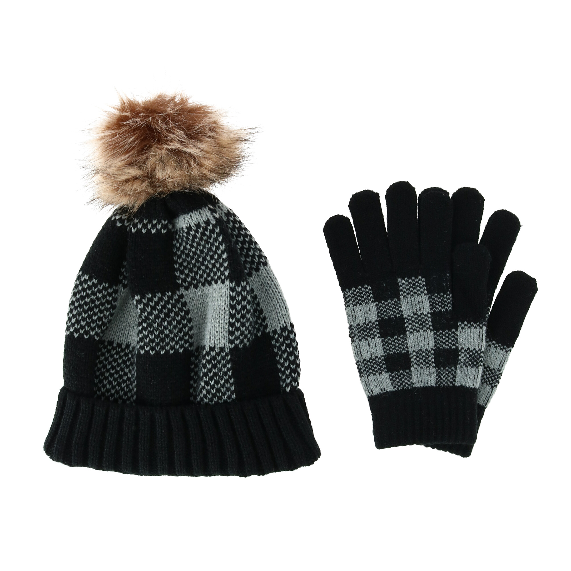 Clear Creek Women's Buffalo Plaid Beanie and Glove Winter Set - Grey