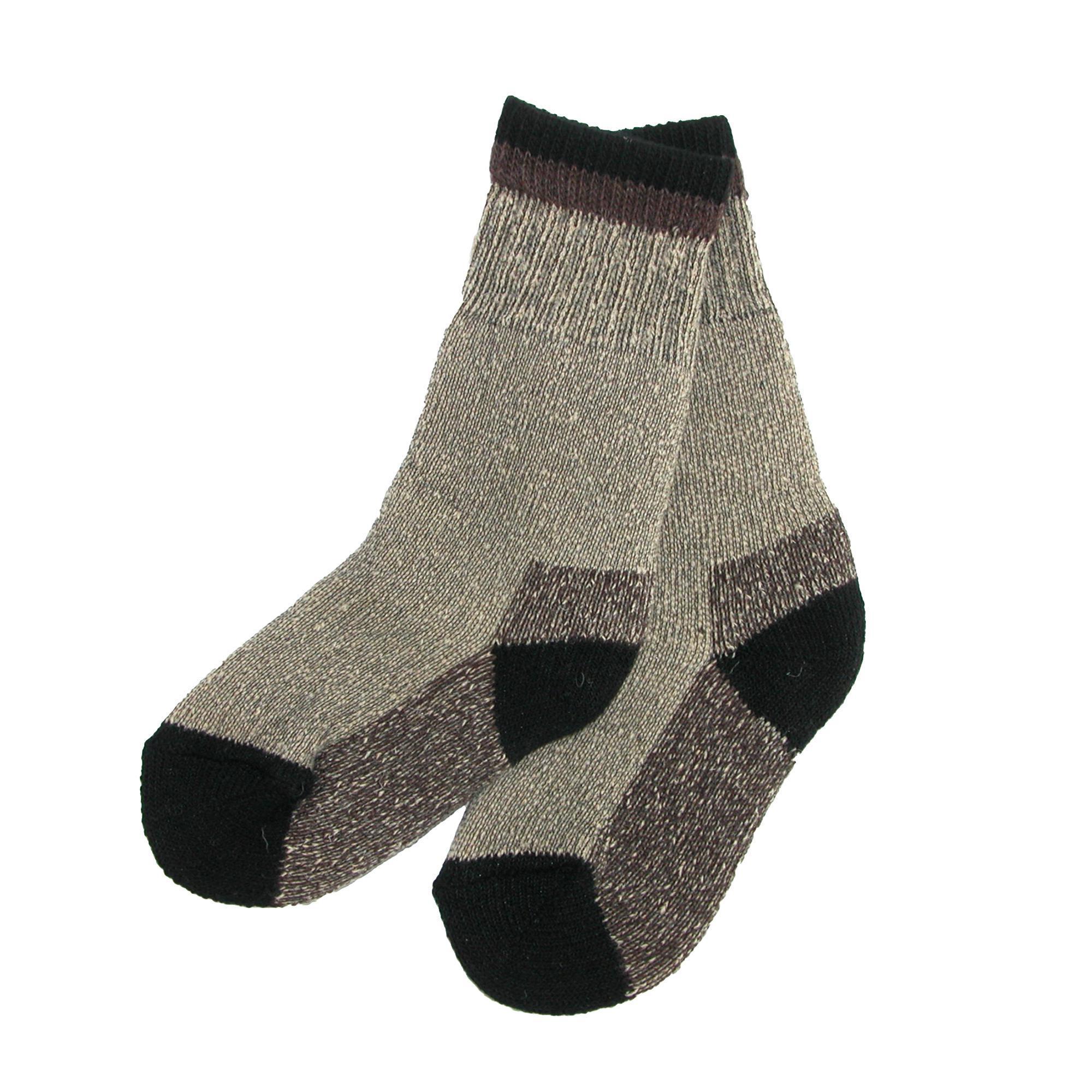 Clear Creek Boy's Wool Hiking Socks (2 Pair Pack) - Black Small