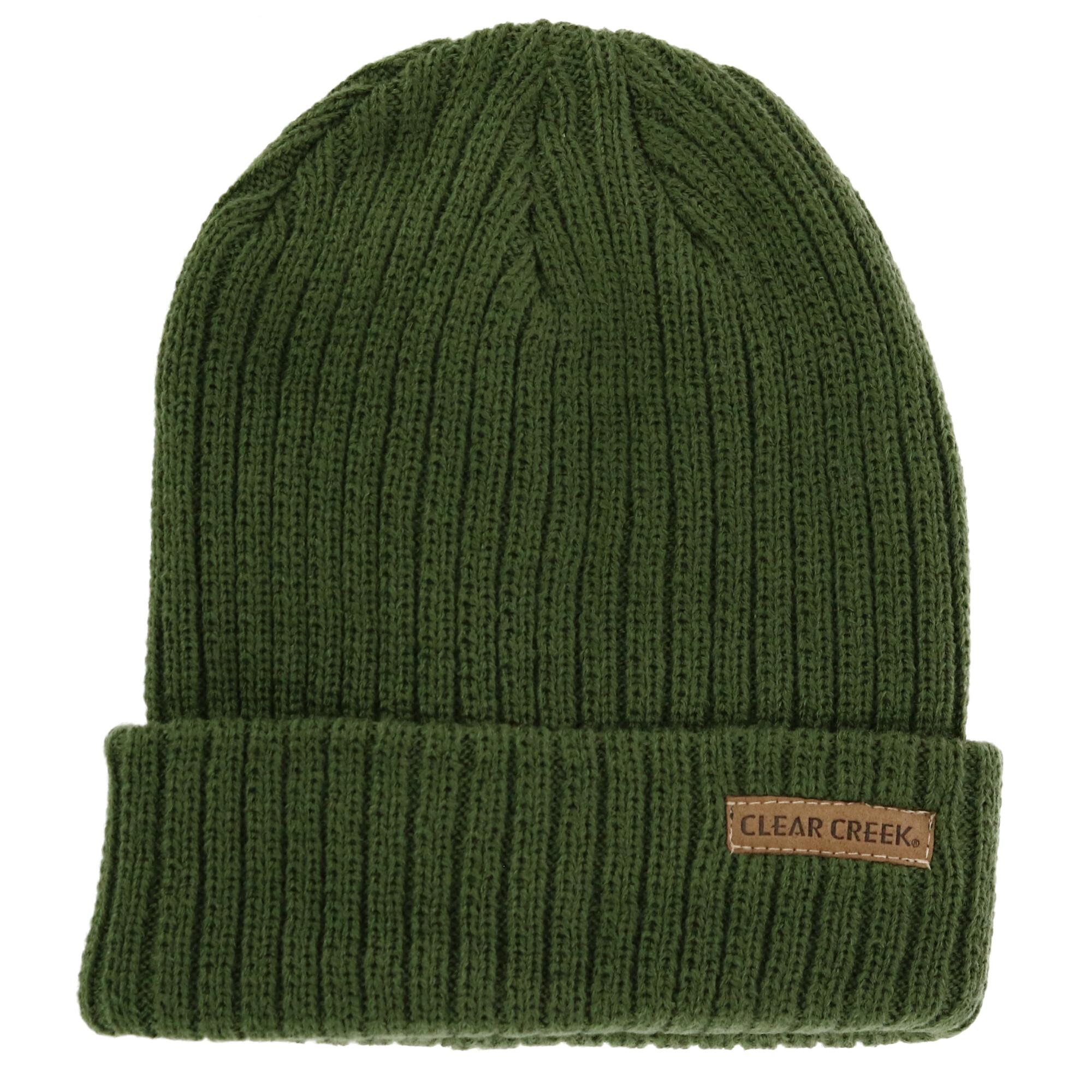 Clear Creek Men's Ribbed Knit Cuff Cap - Green one size