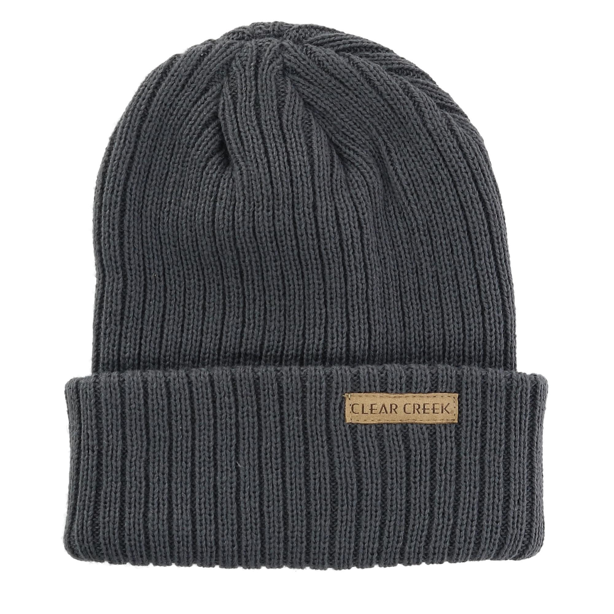 Clear Creek Men's Ribbed Knit Cuff Cap - Grey one size