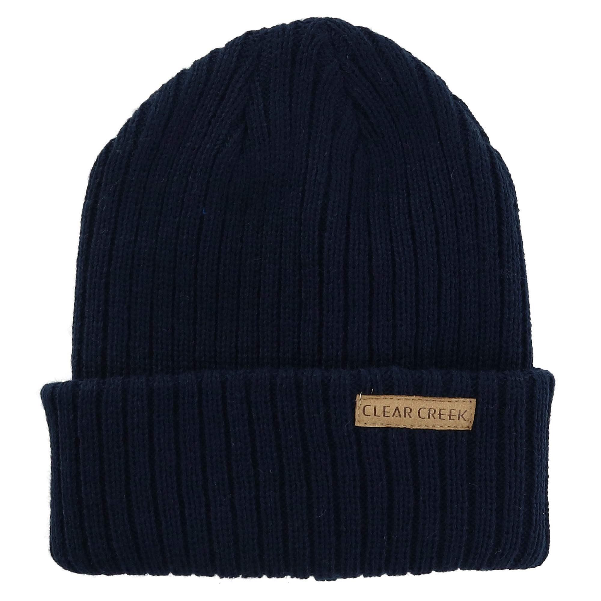 Clear Creek Men's Ribbed Knit Cuff Cap - Navy one size