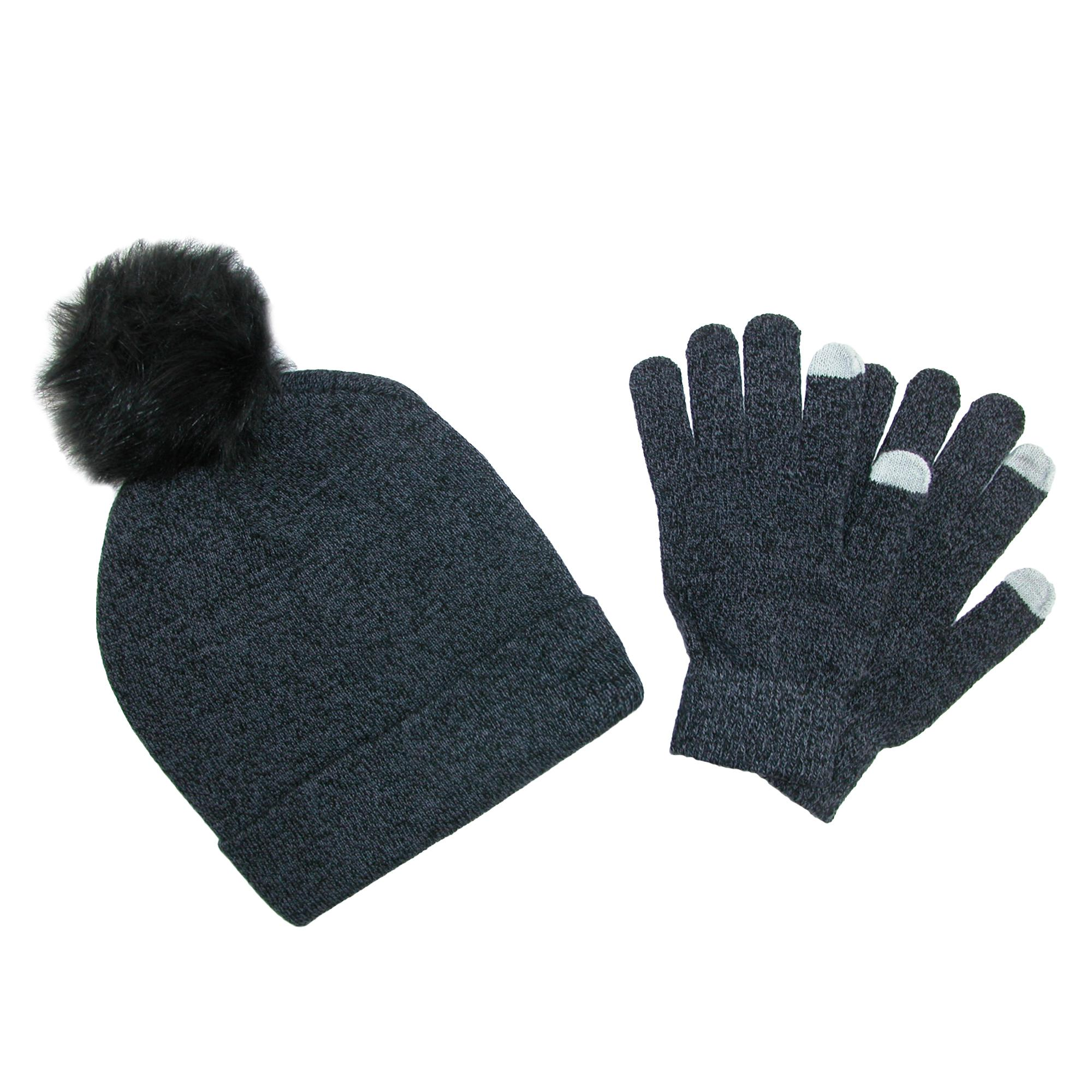 Ctm Womens Marled Beanie With Pom And Text Gloves Set