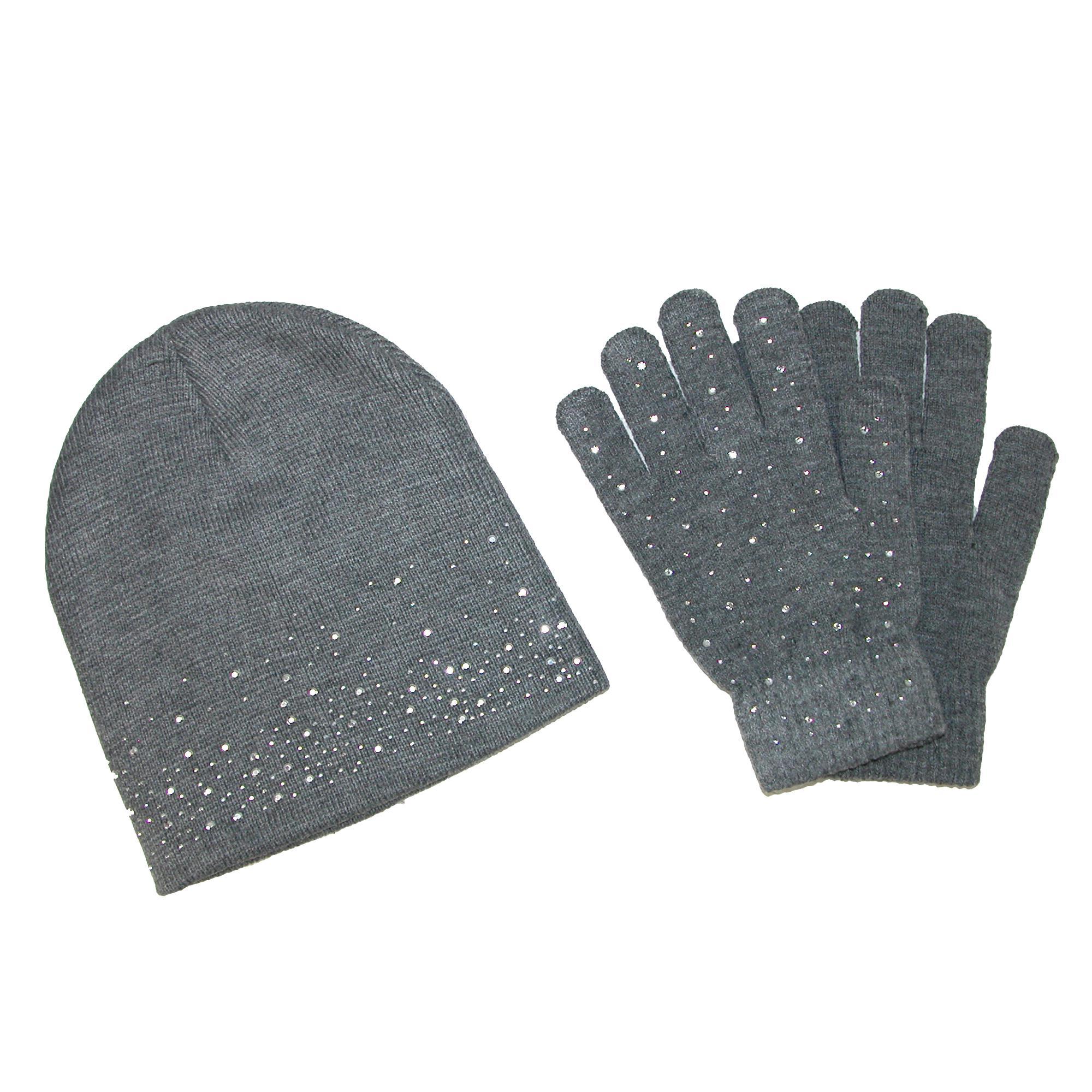 Ctm Womens Rhinestone Hat And Glove Set