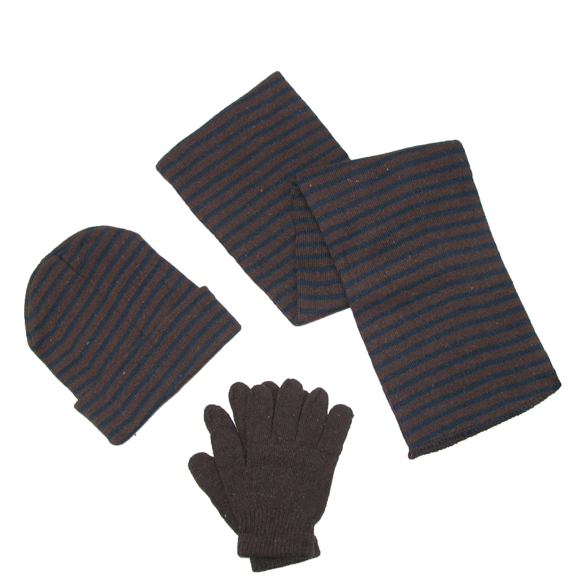 Ctm Mens Knit Striped Hat Gloves And Scarf Winter Set