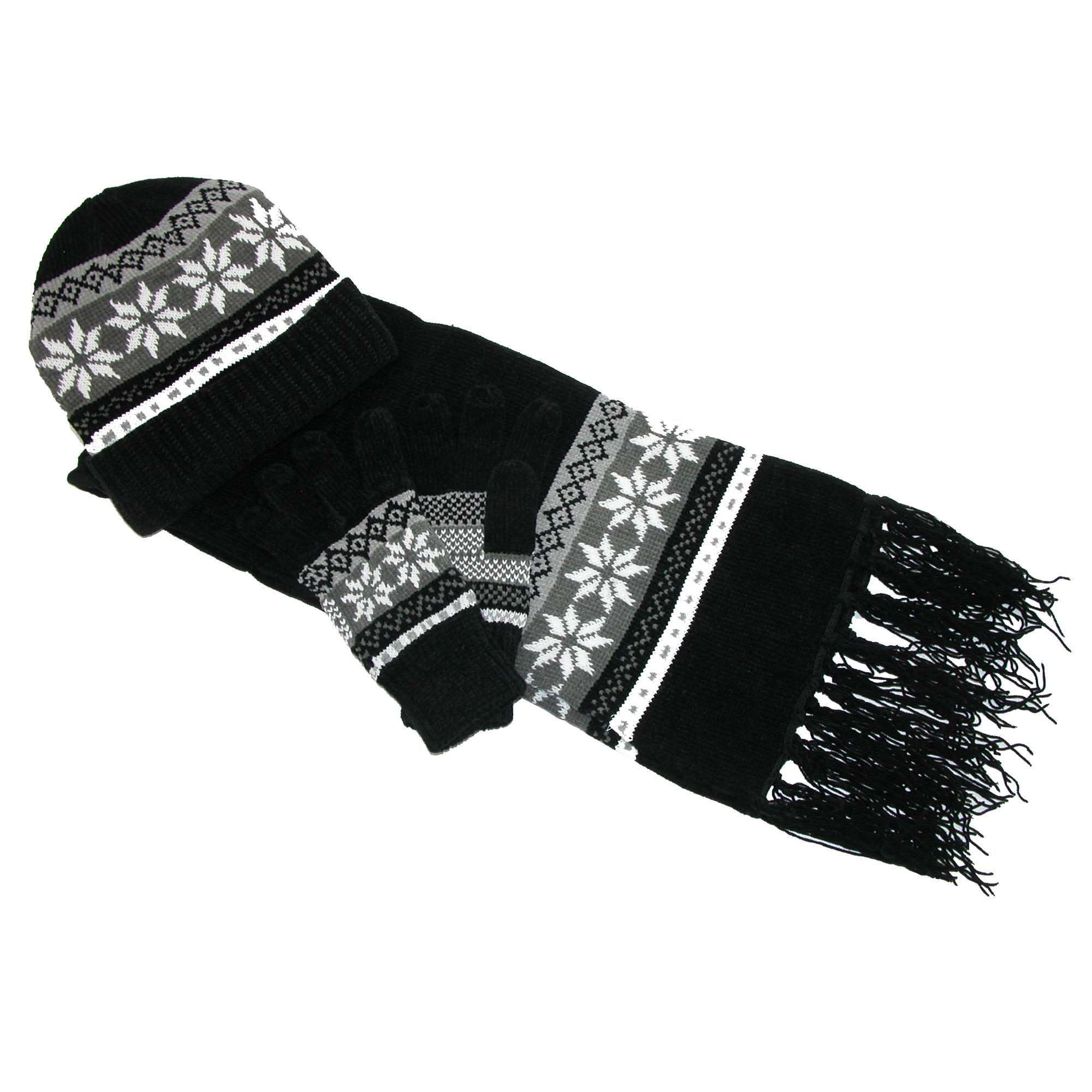 Women's Muk Luks Reversible Eternity Scarf, Hat, Gloves, and Arm Warmers Set. Some of colors are white, rose, taupe and plum.