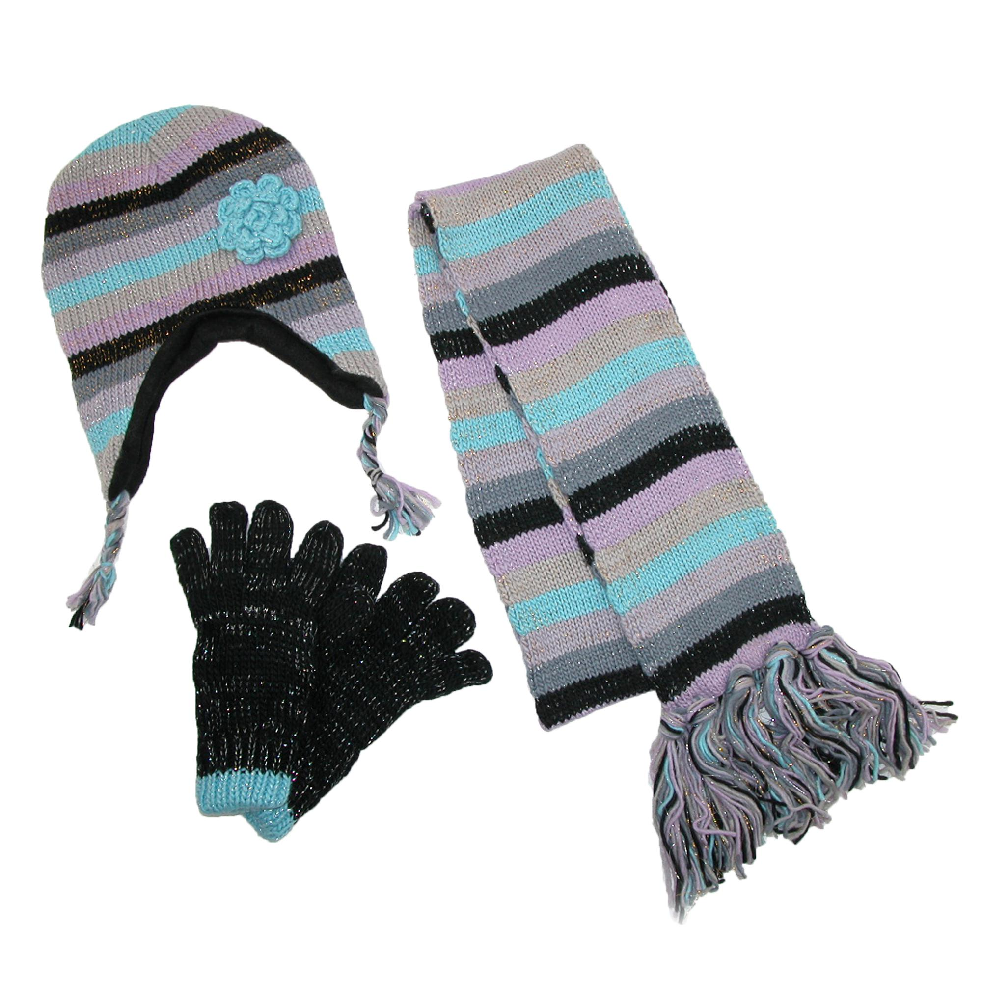 4cde32cfd30 Details about New CTM Women s Striped with Rosette Hat Gloves and Scarf  Winter Set