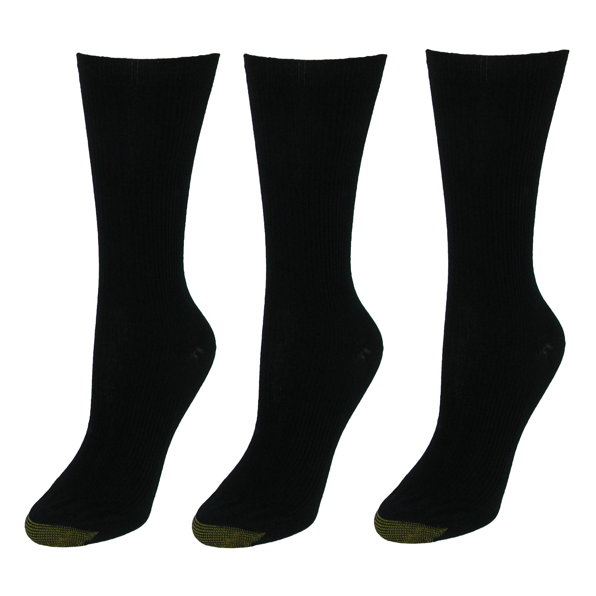 Gold Toe Womens Extended Size Non Binding Crew Socks (3 Pair Pack)