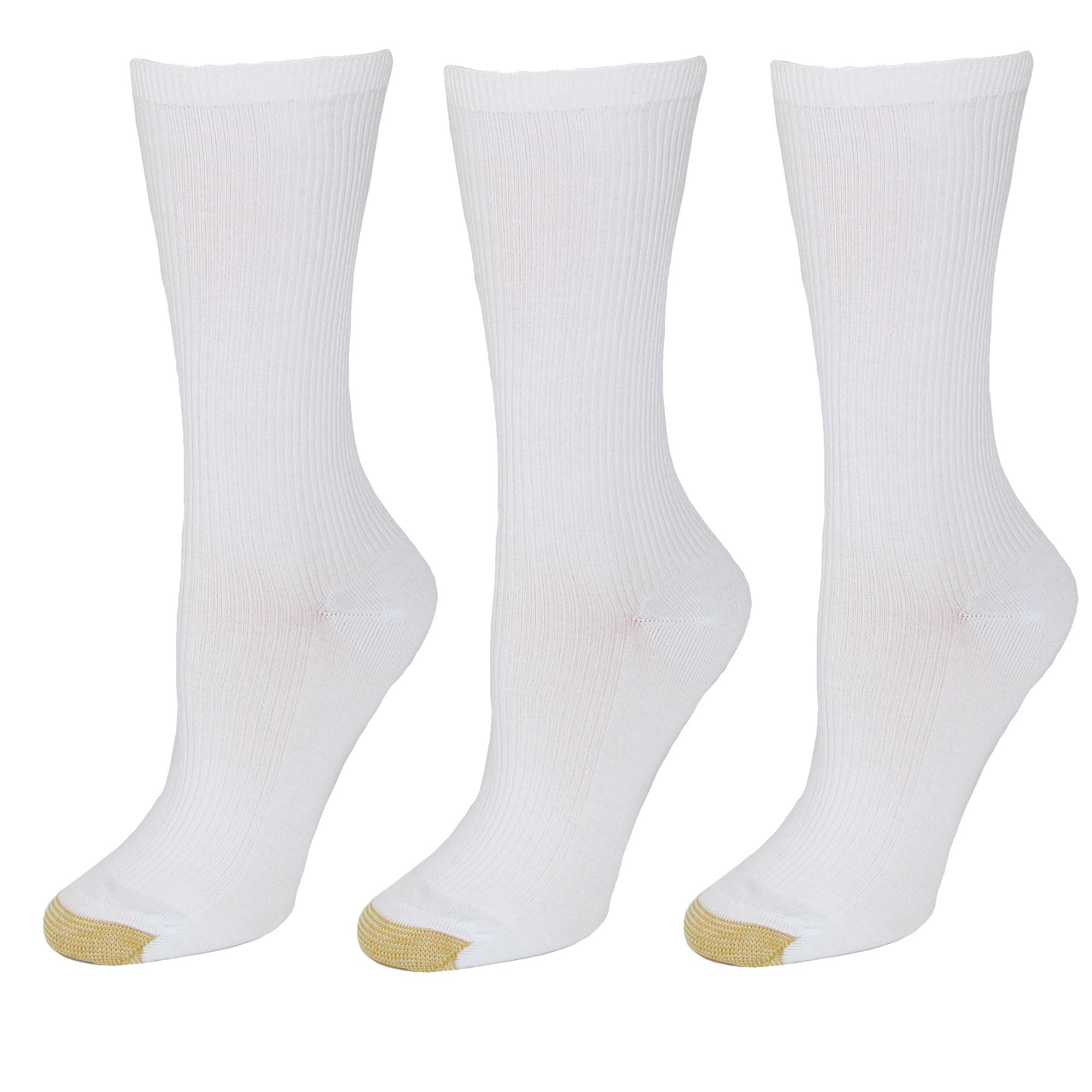 Gold Toe Womens Non Binding Ribbed Crew Socks (3 Pair Pack)
