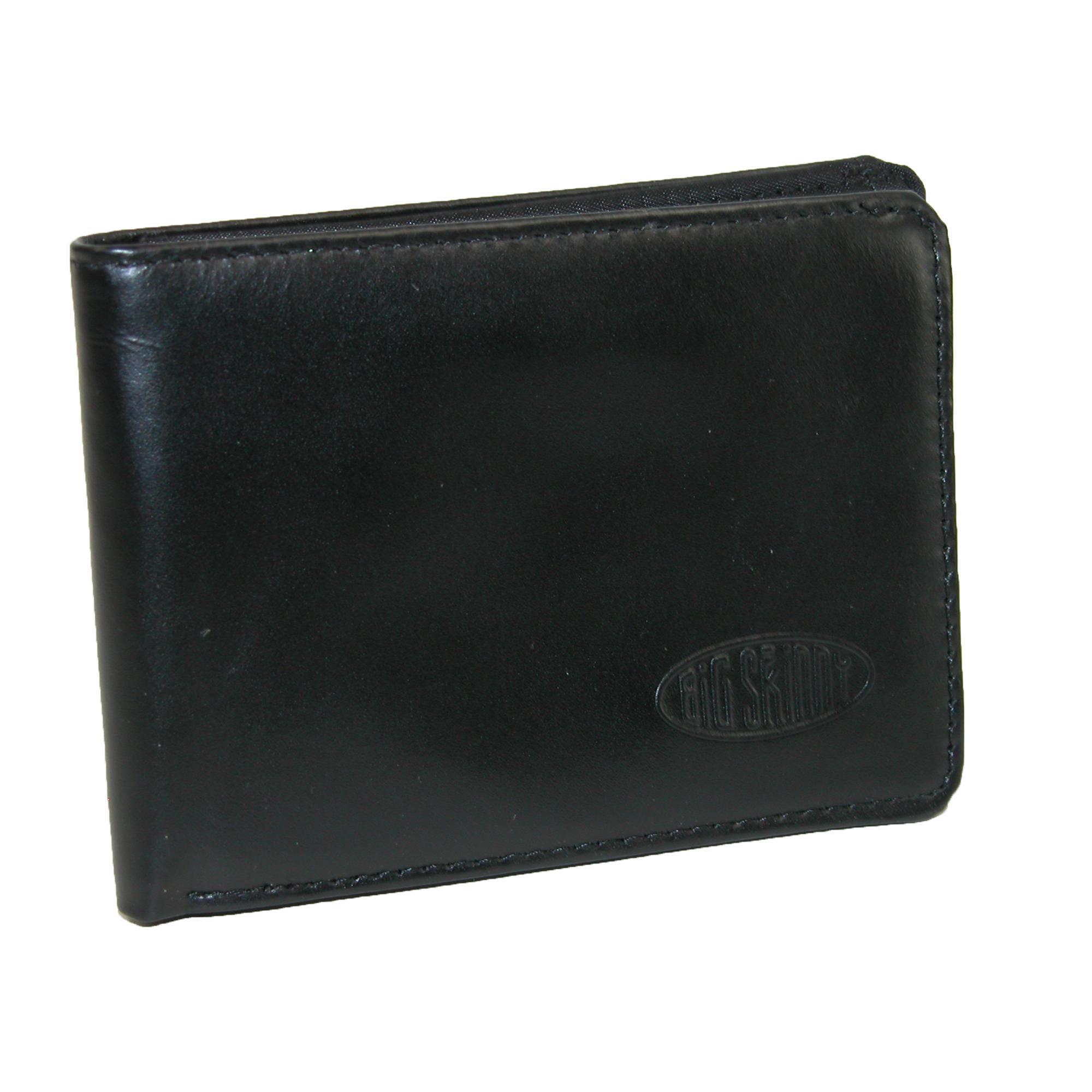 Big Skinny Leather Slim Bifold Badge Holder Wallet