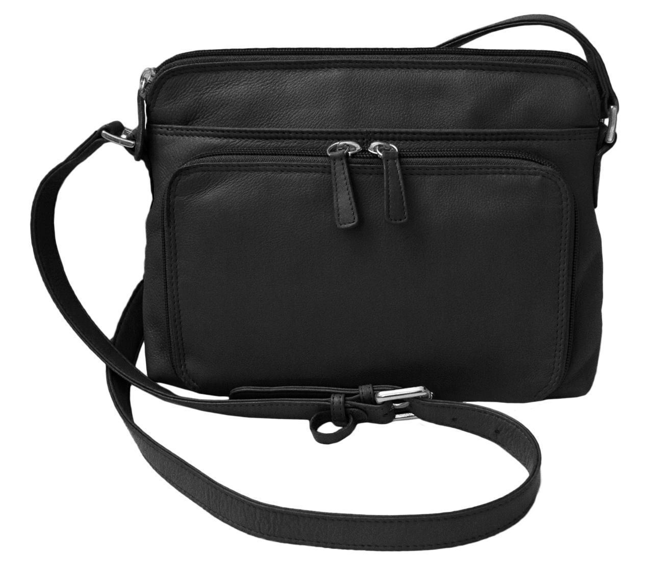 CTM Women's Leather Shoulder Bag Purse with Side Organizer - Black one (IL-6333-BLK IL-6333) photo