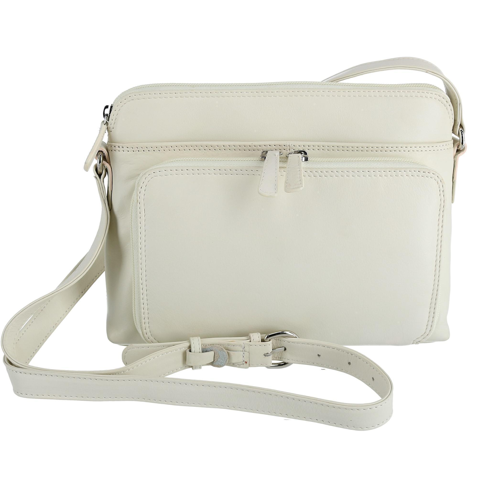 CTM Women's Leather Shoulder Bag Purse with Side Organizer - Bone one (IL-6333-IVO IL-6333) photo