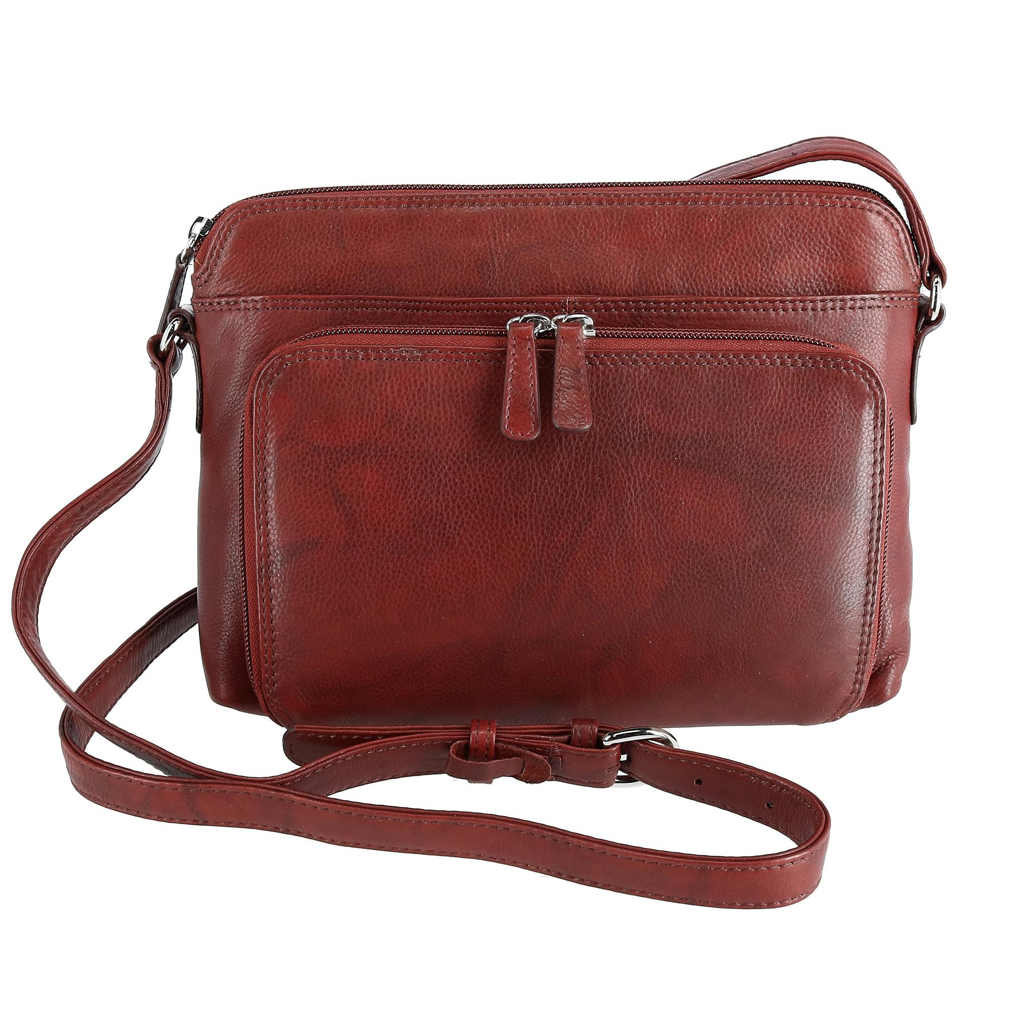 CTM Women's Leather Shoulder Bag Purse with Side Organizer - Redwood (IL-6333-LBR IL-6333) photo