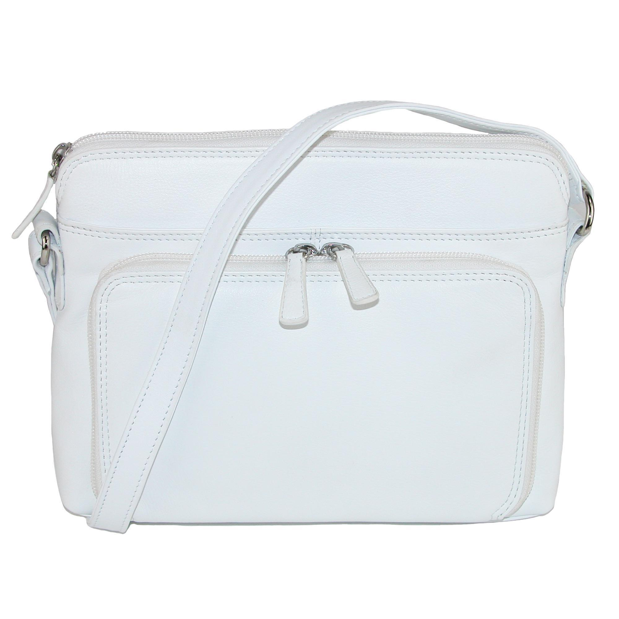 CTM Women's Leather Shoulder Bag Purse with Side Organizer - White one (IL-6333-WHT IL-6333) photo
