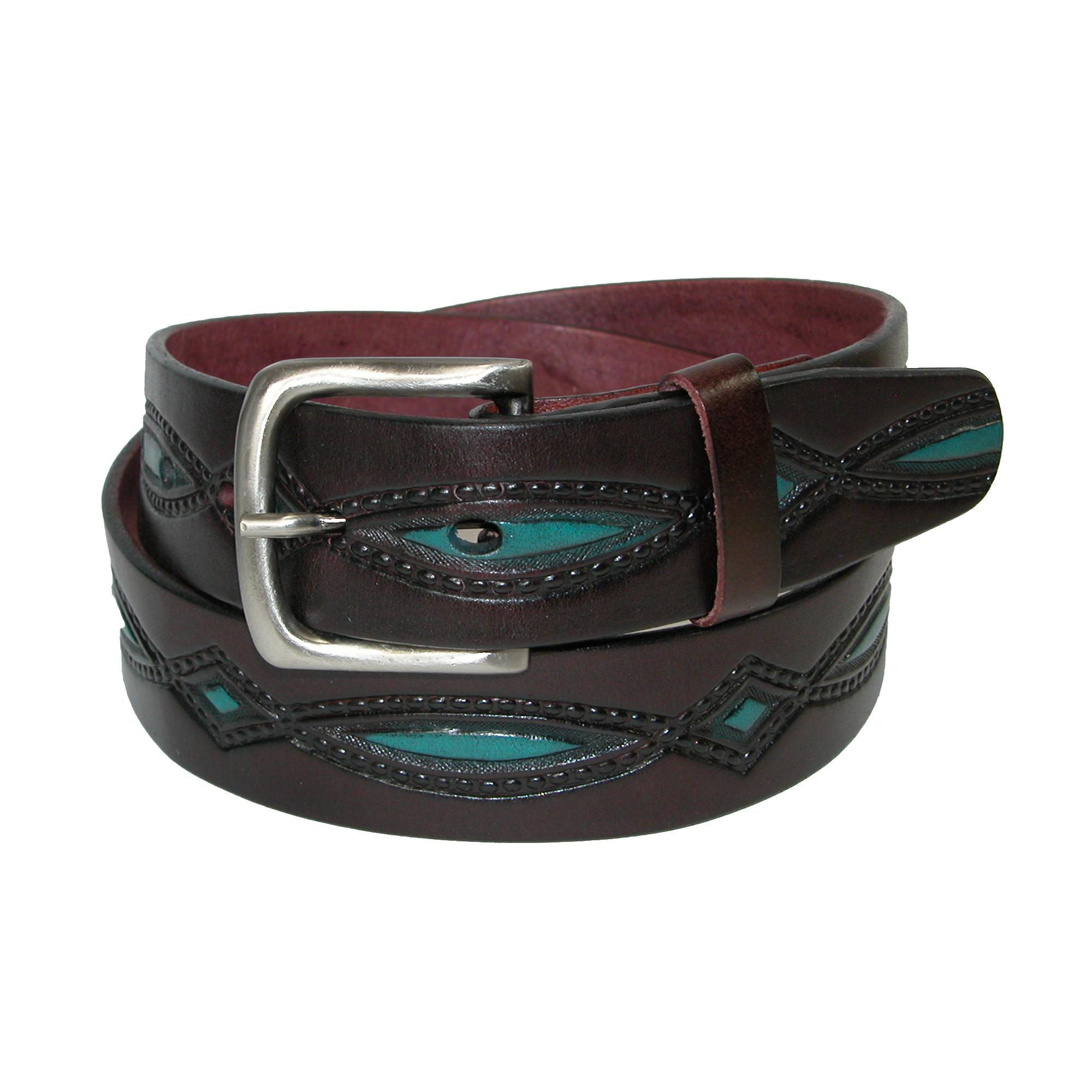 Ctm Mens Oil Tanned Leather Belt With Embossed Turquoise Accents