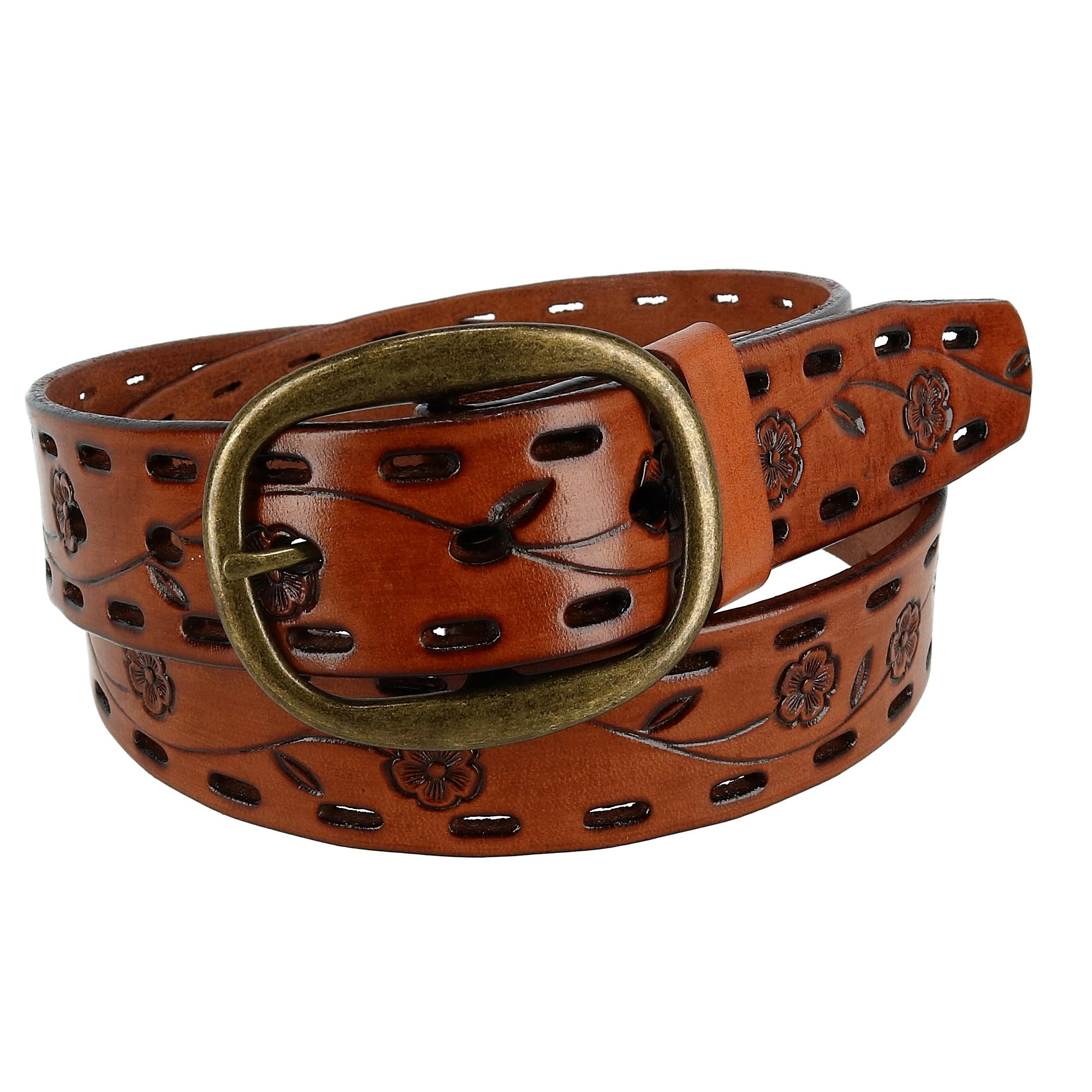 Ctm Womens Center Bar Buckle Belt With Flowers And Perforations