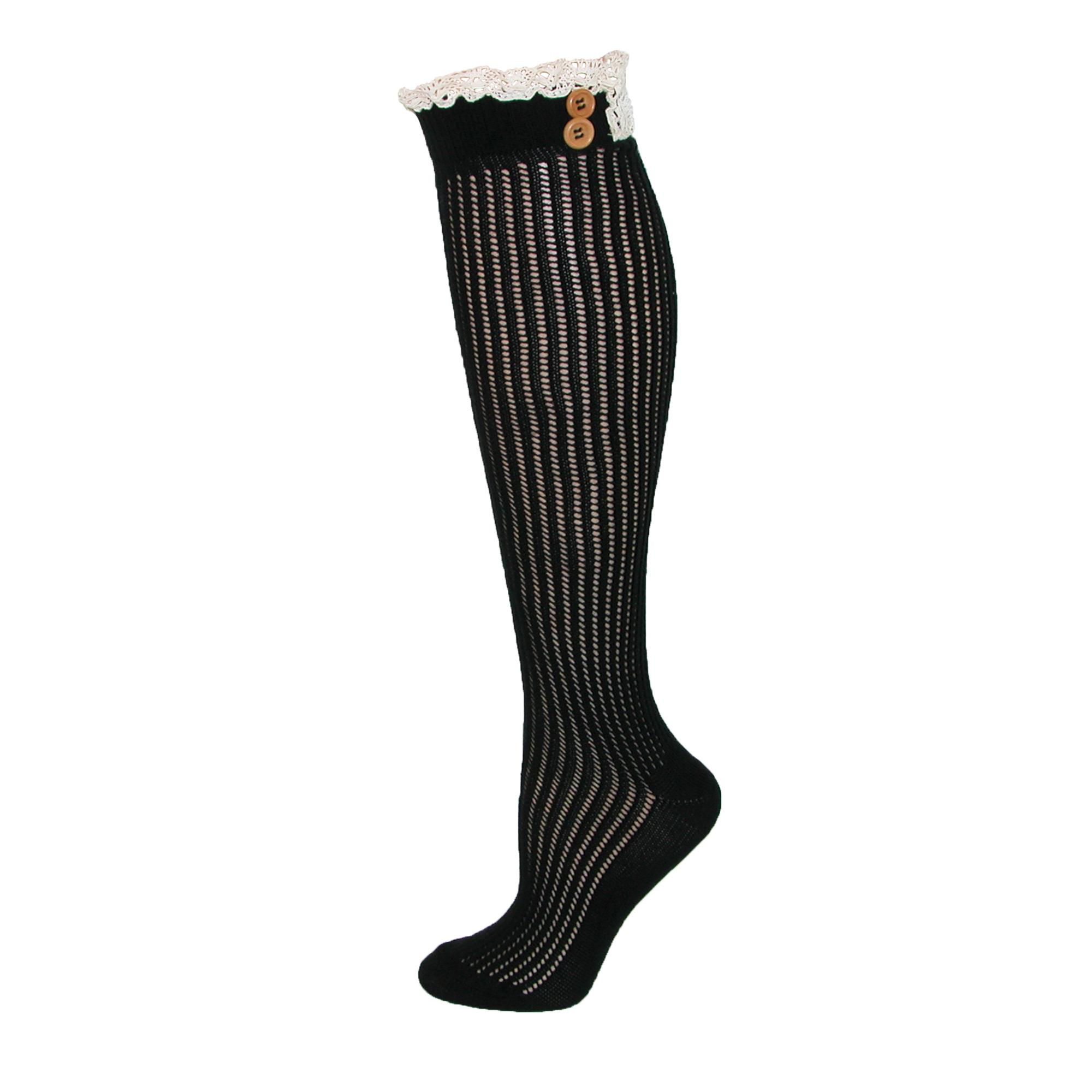 Jefferies Socks Womens Lace Top Boot Knee Highs