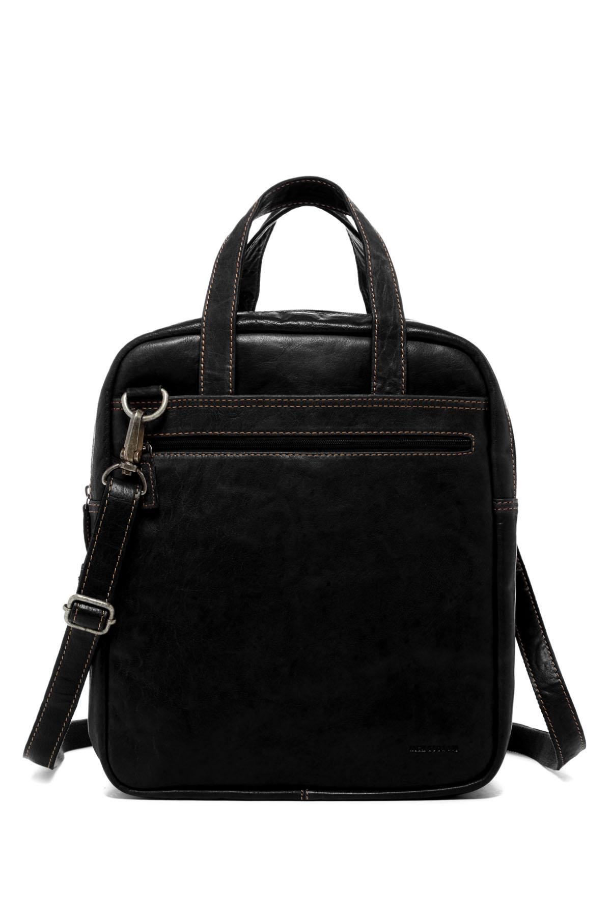 Jack Georges Voyager Leather Convertible Man Bag To Duffle Bag