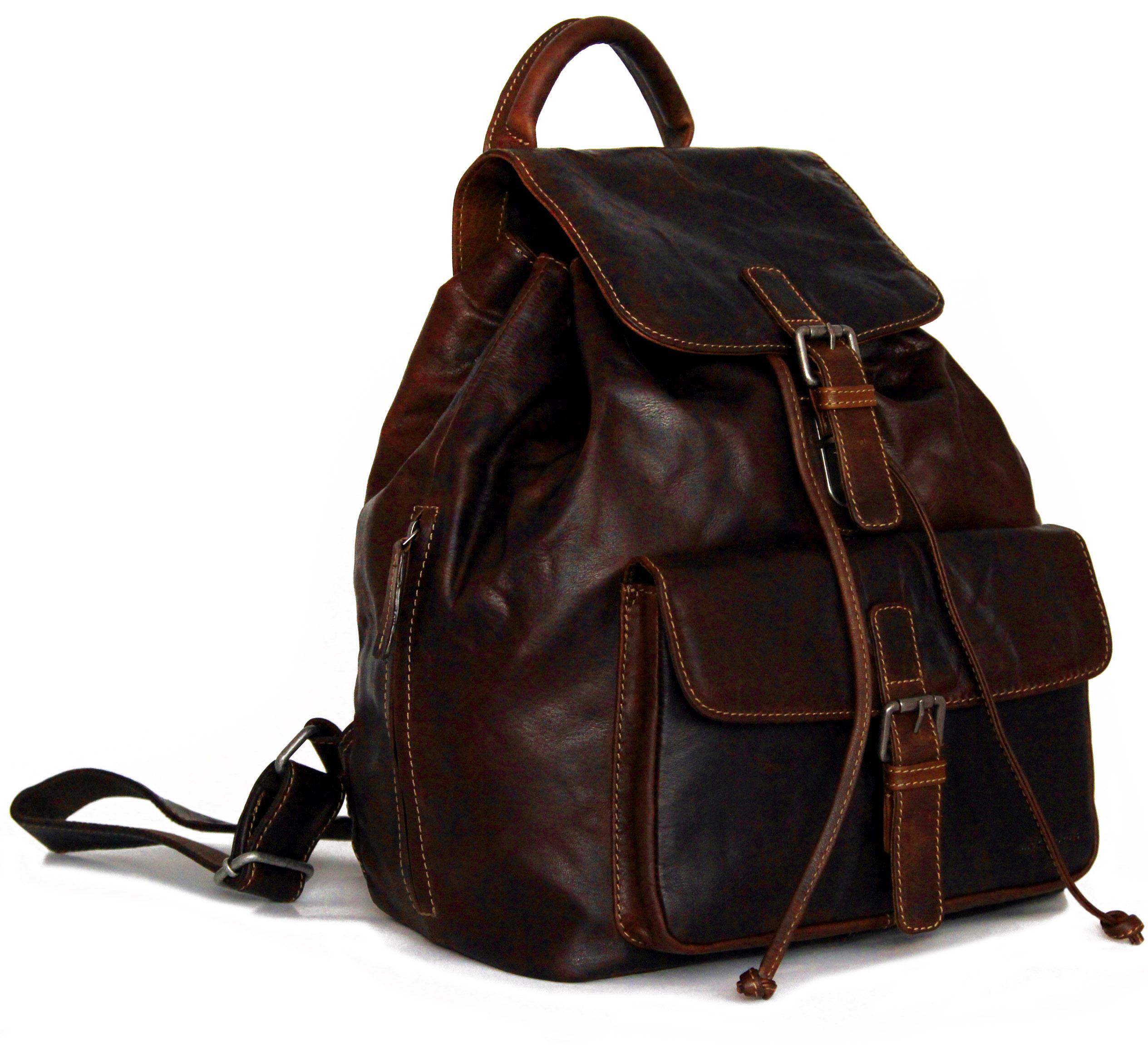 Jack Georges Men's Voyager Leather Drawstring Backpack