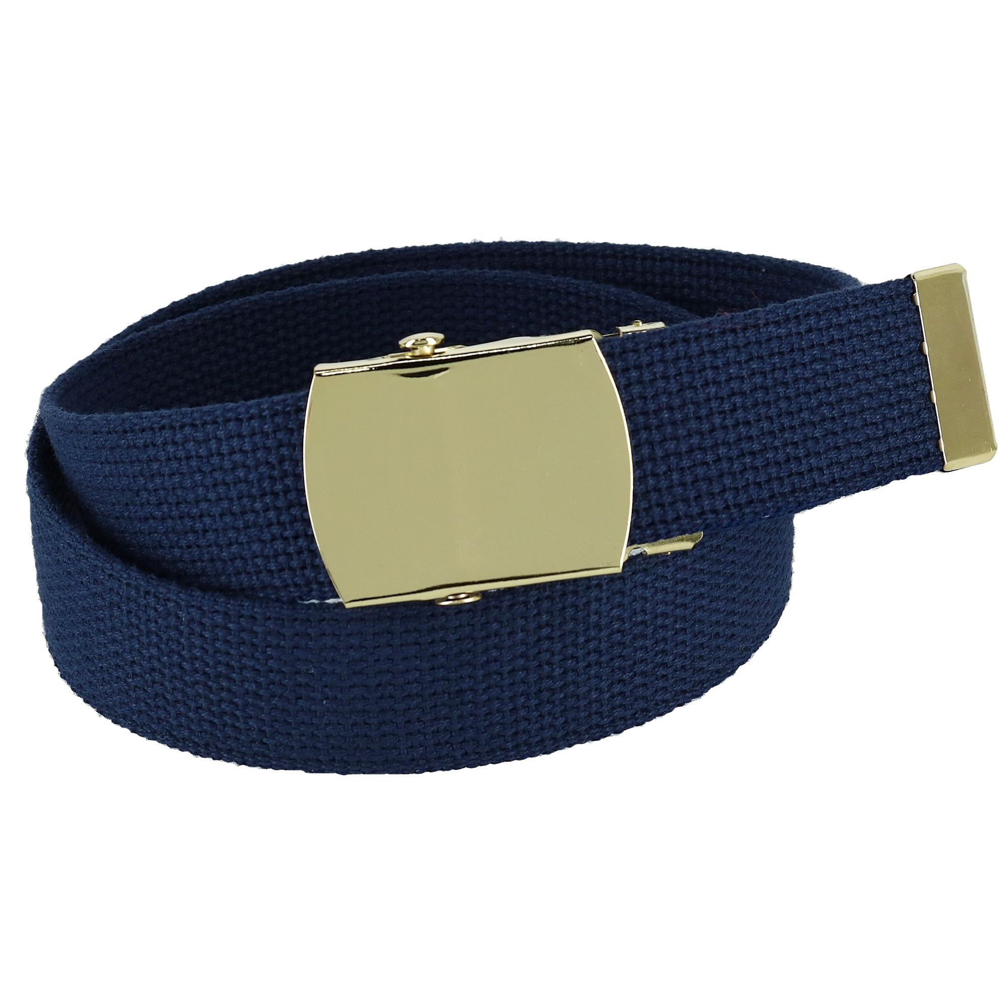 CTM_Kids_Cotton_Adjustable_Belt_with_Brass_Military_Buckle_