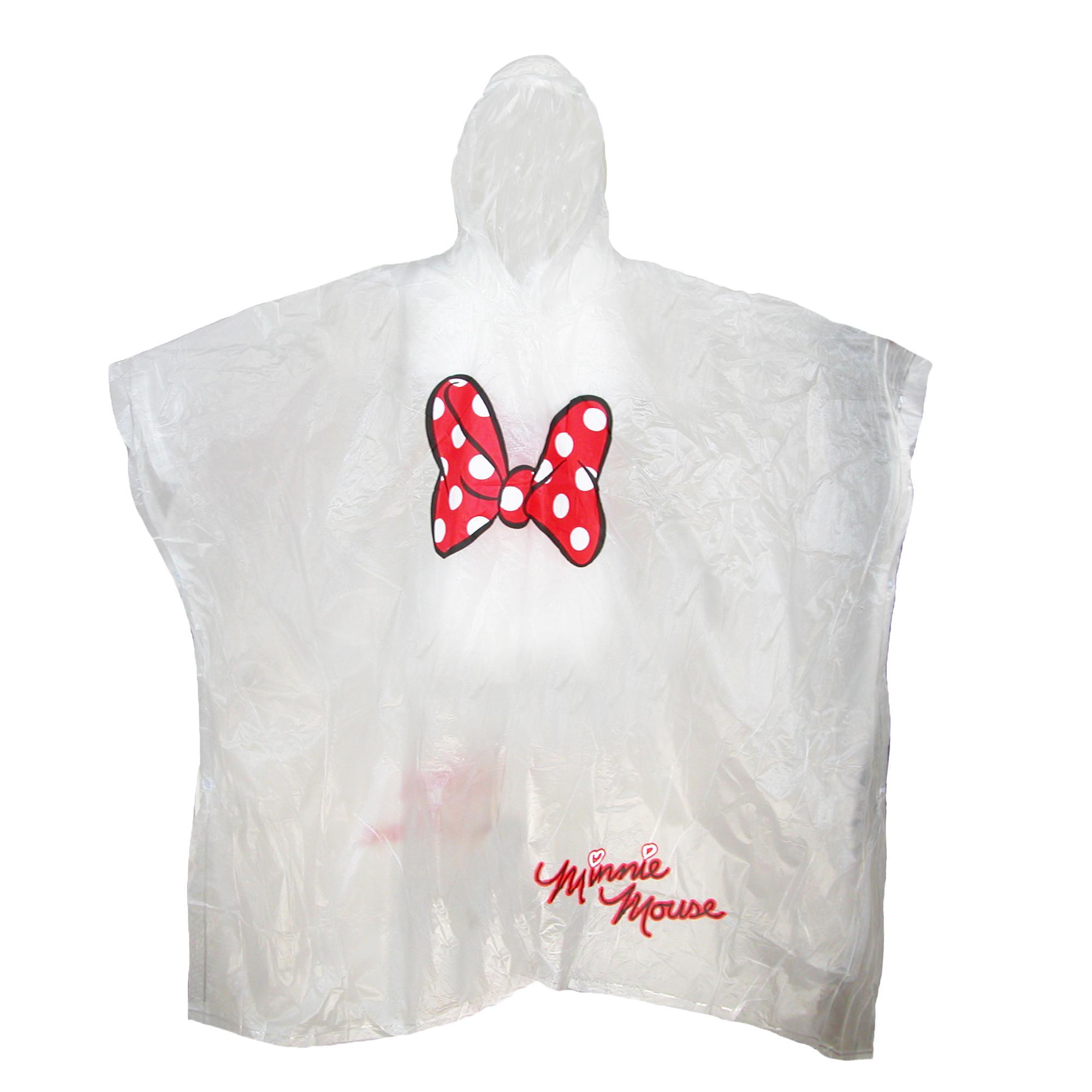 Disney Womens Minnie Mouse Bow Clear Rain Poncho