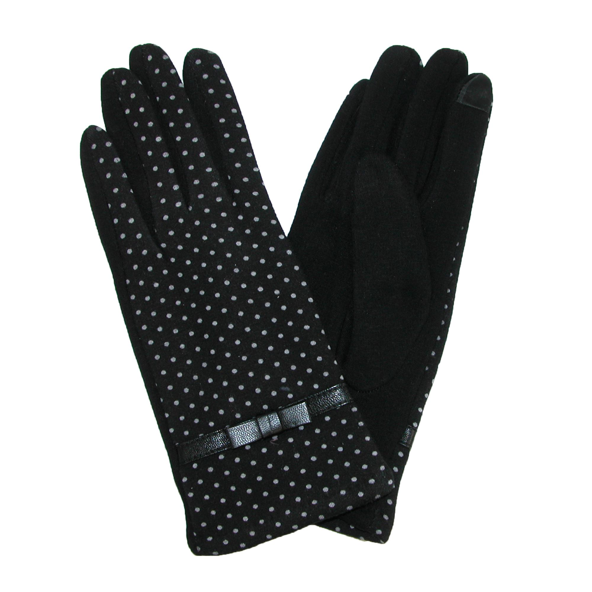 Womens Solid Ruffle Wool Smart Gloves